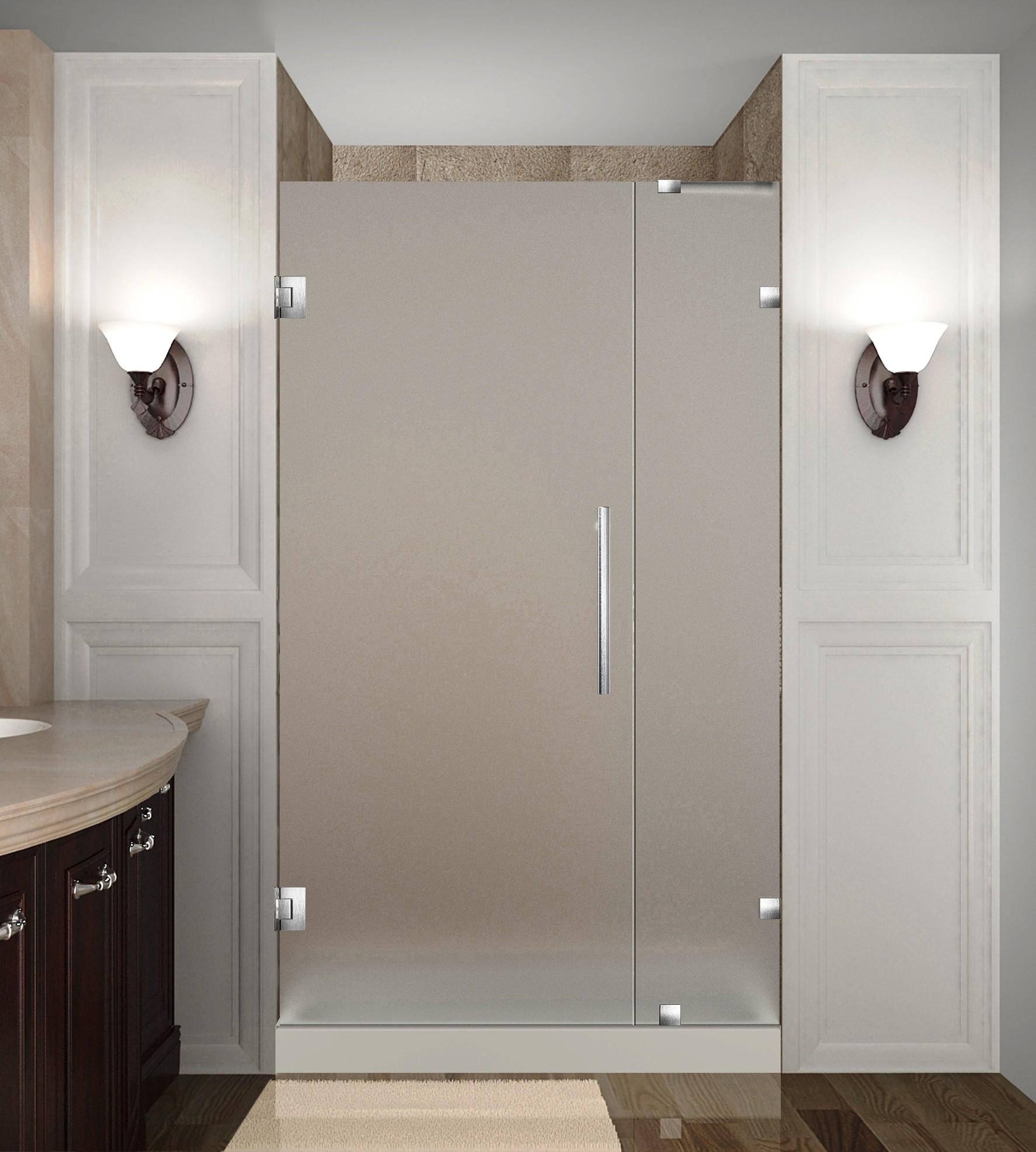 Aston Global SDR985F-SS-32-10 Frameless Hinged Frosted Glass Shower Door In Stainless Steel