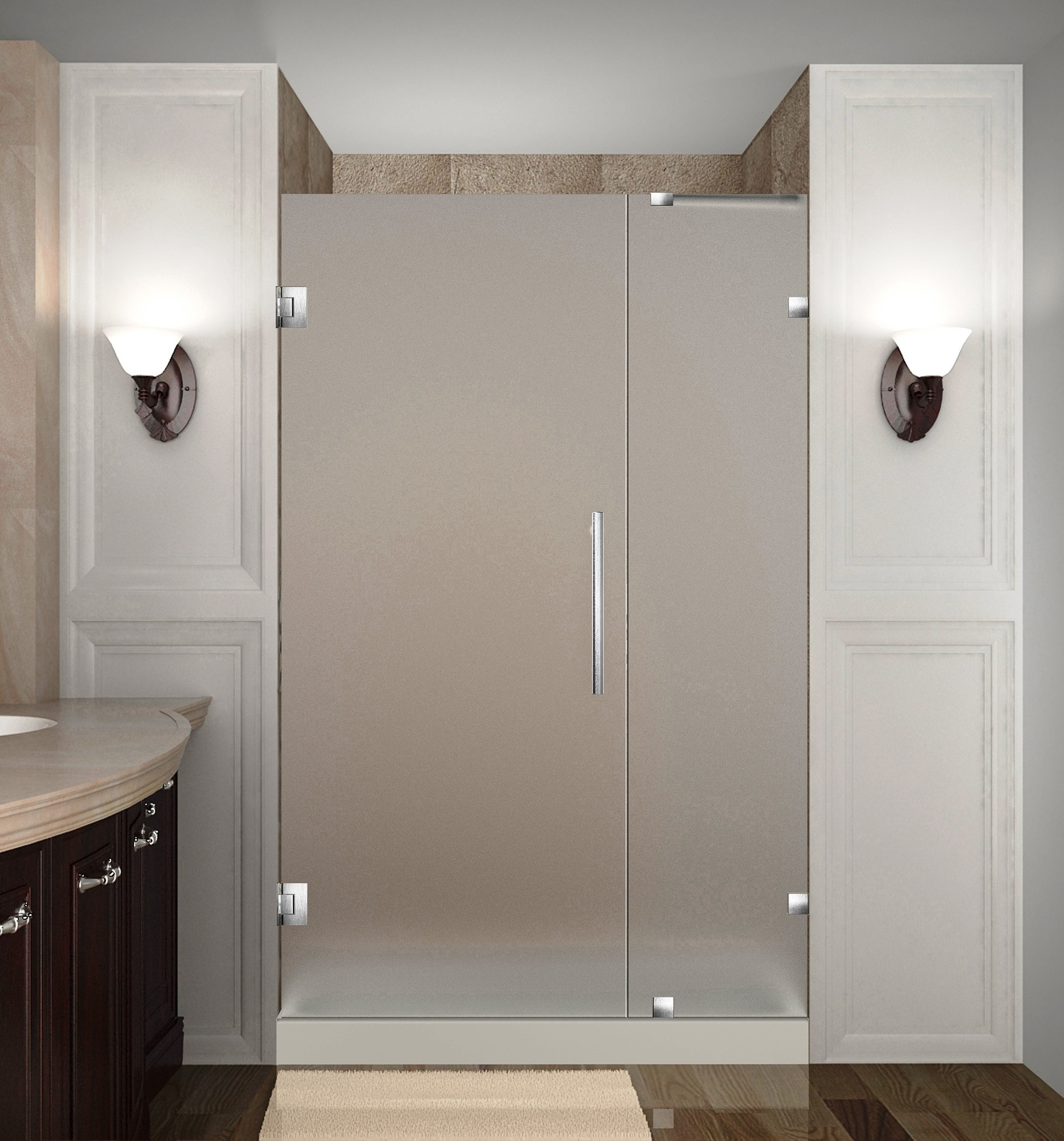 Aston Global SDR985F-SS-37-10 Frameless Hinged Frosted Glass Shower Door In Stainless Steel
