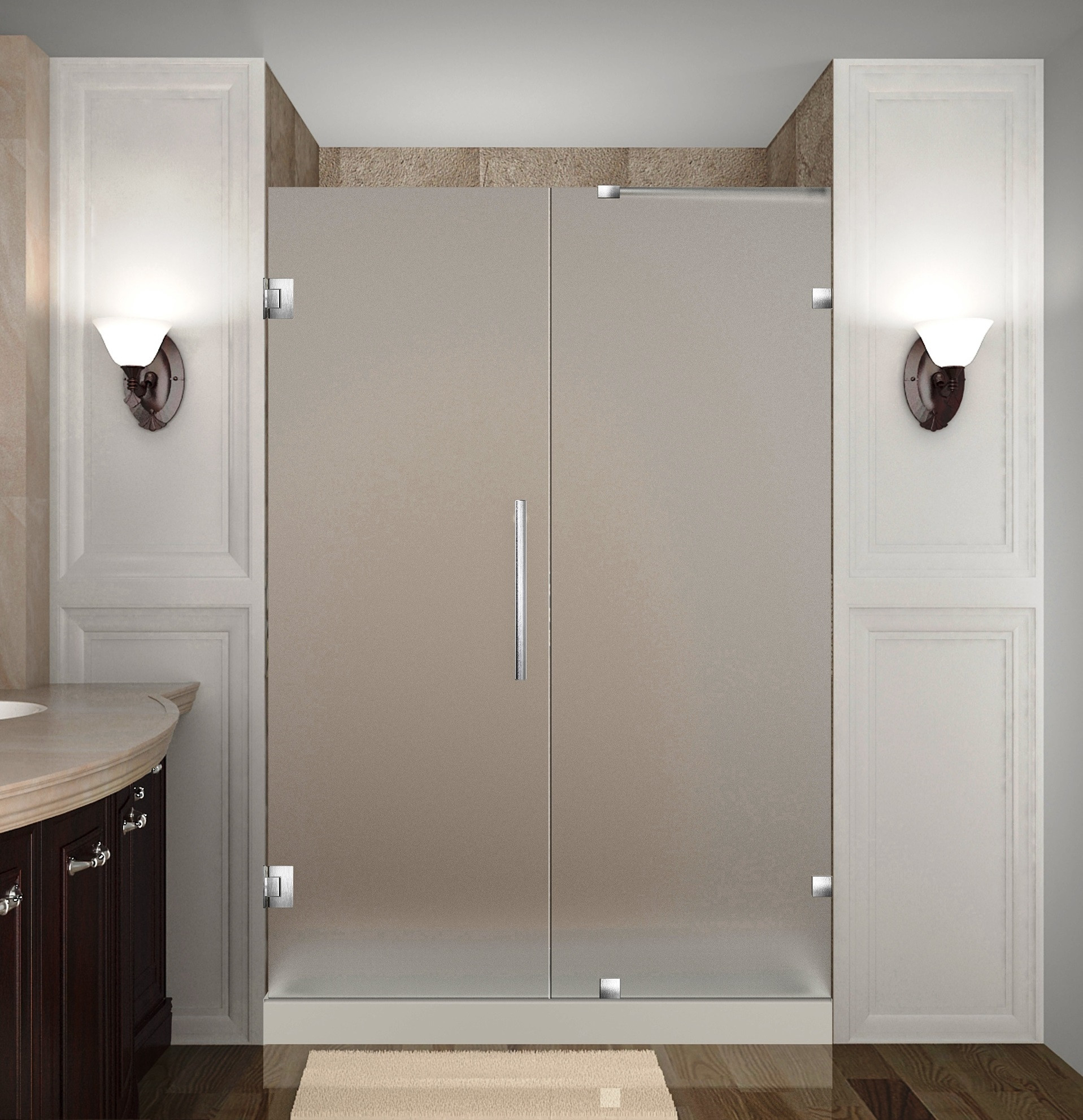 Aston Global SDR985F-SS-49-10 Frameless Hinged Frosted Glass Shower Door In Stainless Steel