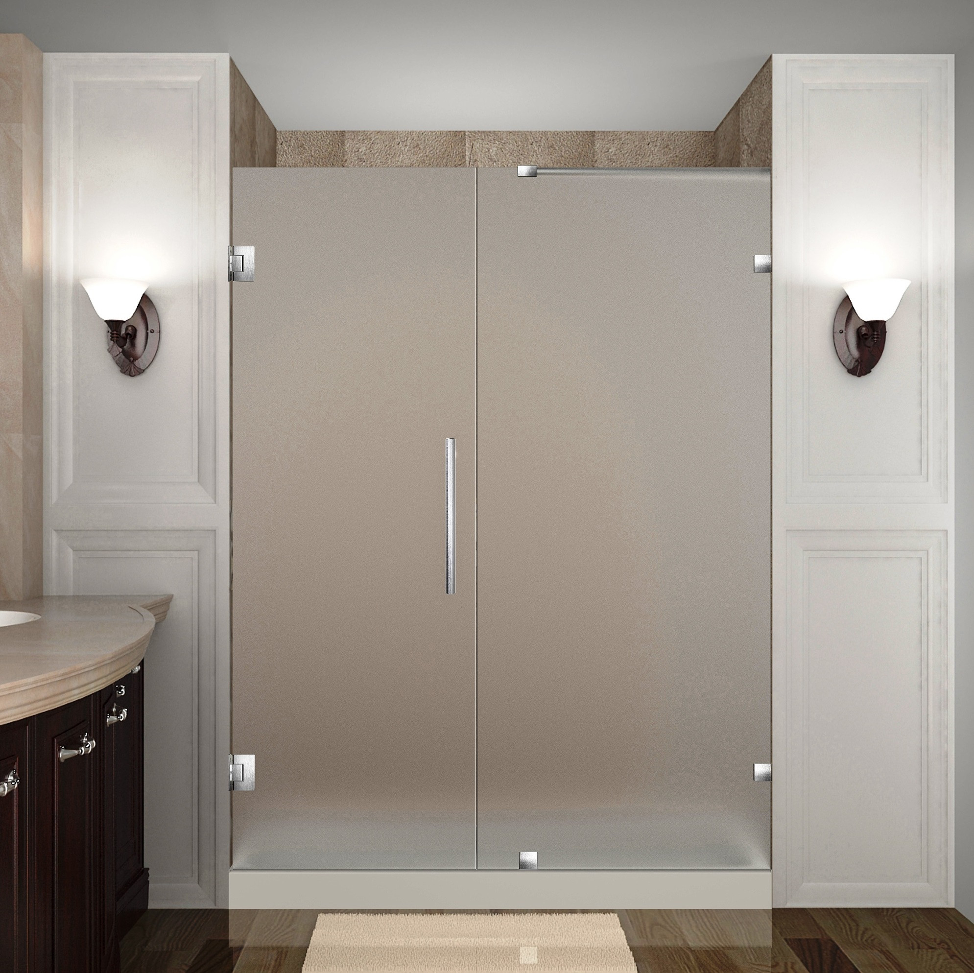 Aston Global SDR985F-SS-58-10 Frameless Hinged Frosted Glass Shower Door In Stainless Steel