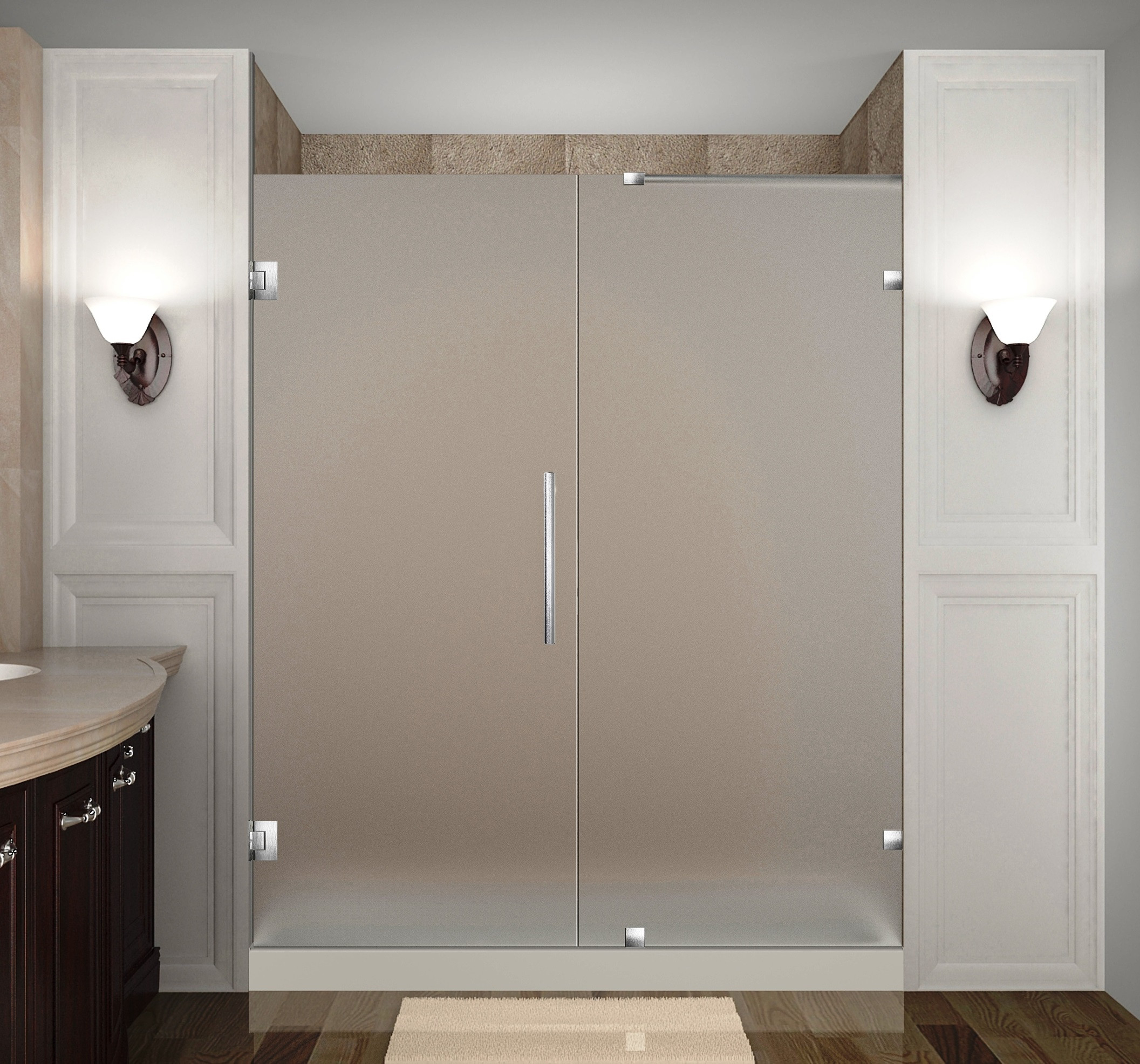 Aston Global SDR985F-SS-74-10 Frameless Hinged Frosted Glass Shower Door In Stainless Steel