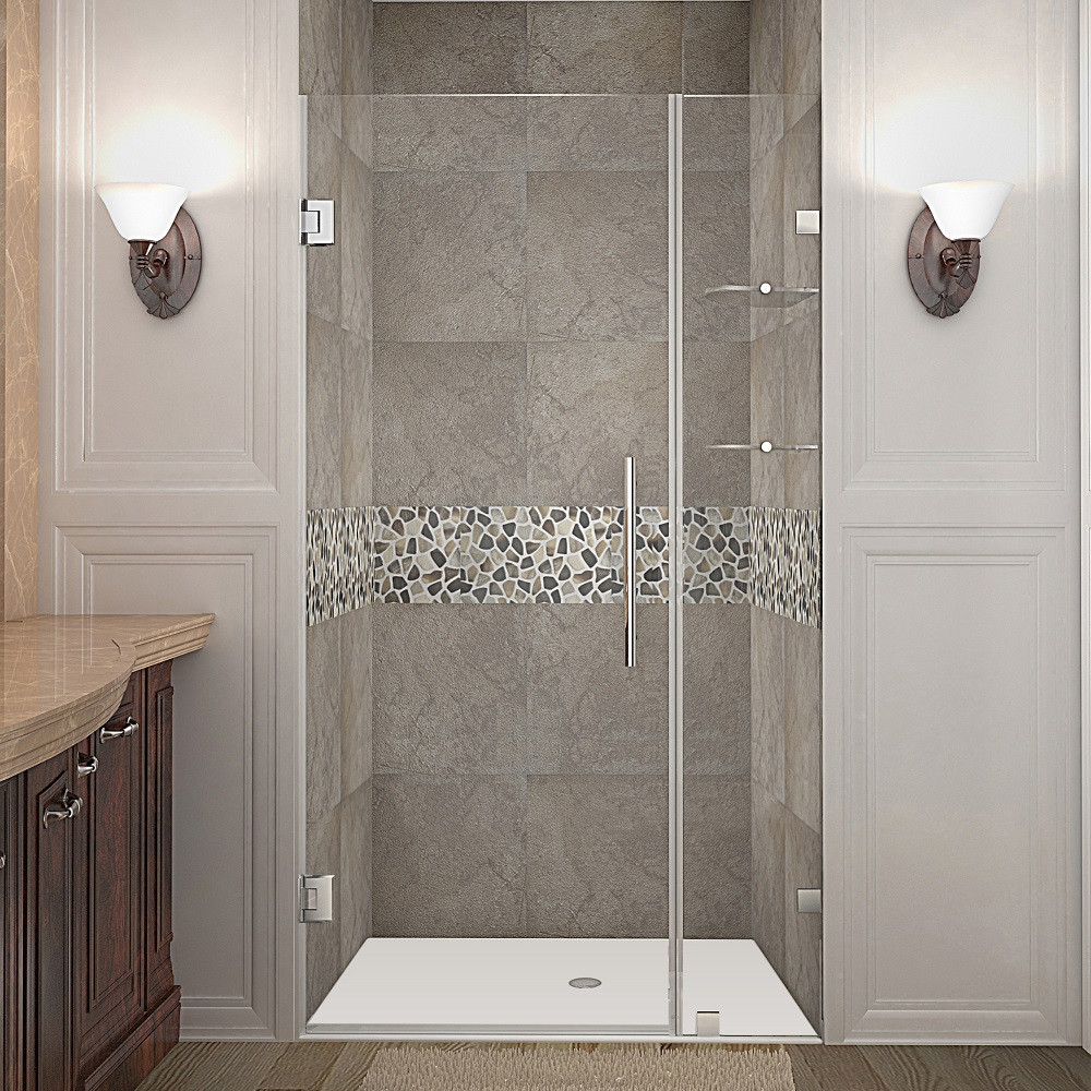 Aston Global SDR990-CH-39-10 Completely Frameless Hinged Shower Door with Glass Shelves in Chrome