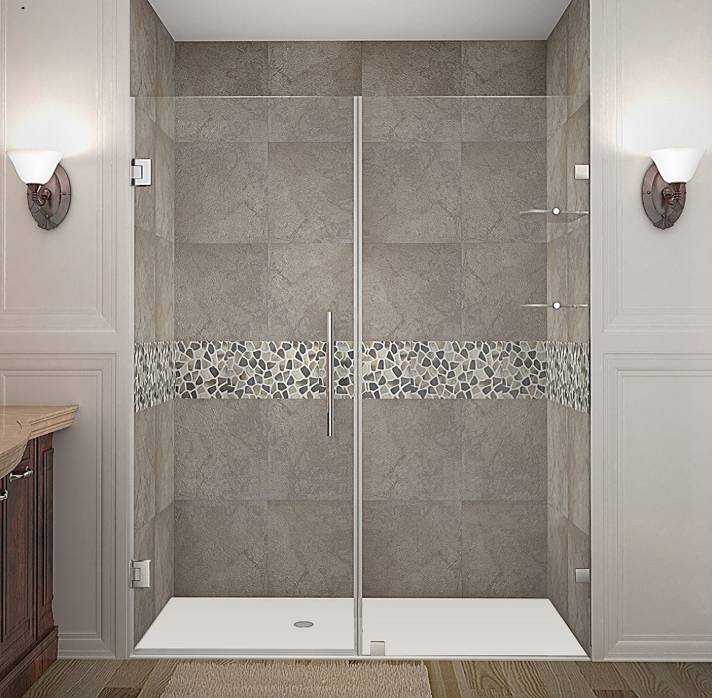 Aston Global SDR990-CH-62-10 Completely Frameless Hinged Shower Door with Glass Shelves in Chrome