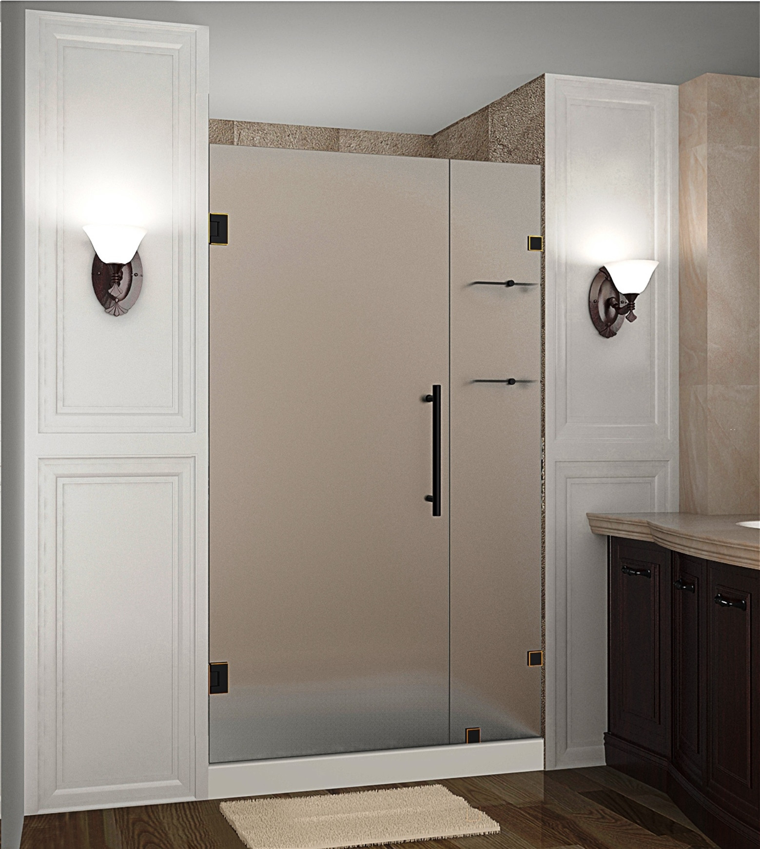 """Aston SDR990F-ORB-38-10 38 x 72"""" Frosted Glass Hinged Shower Door with Shelves Oil Rubbed Bronze"""