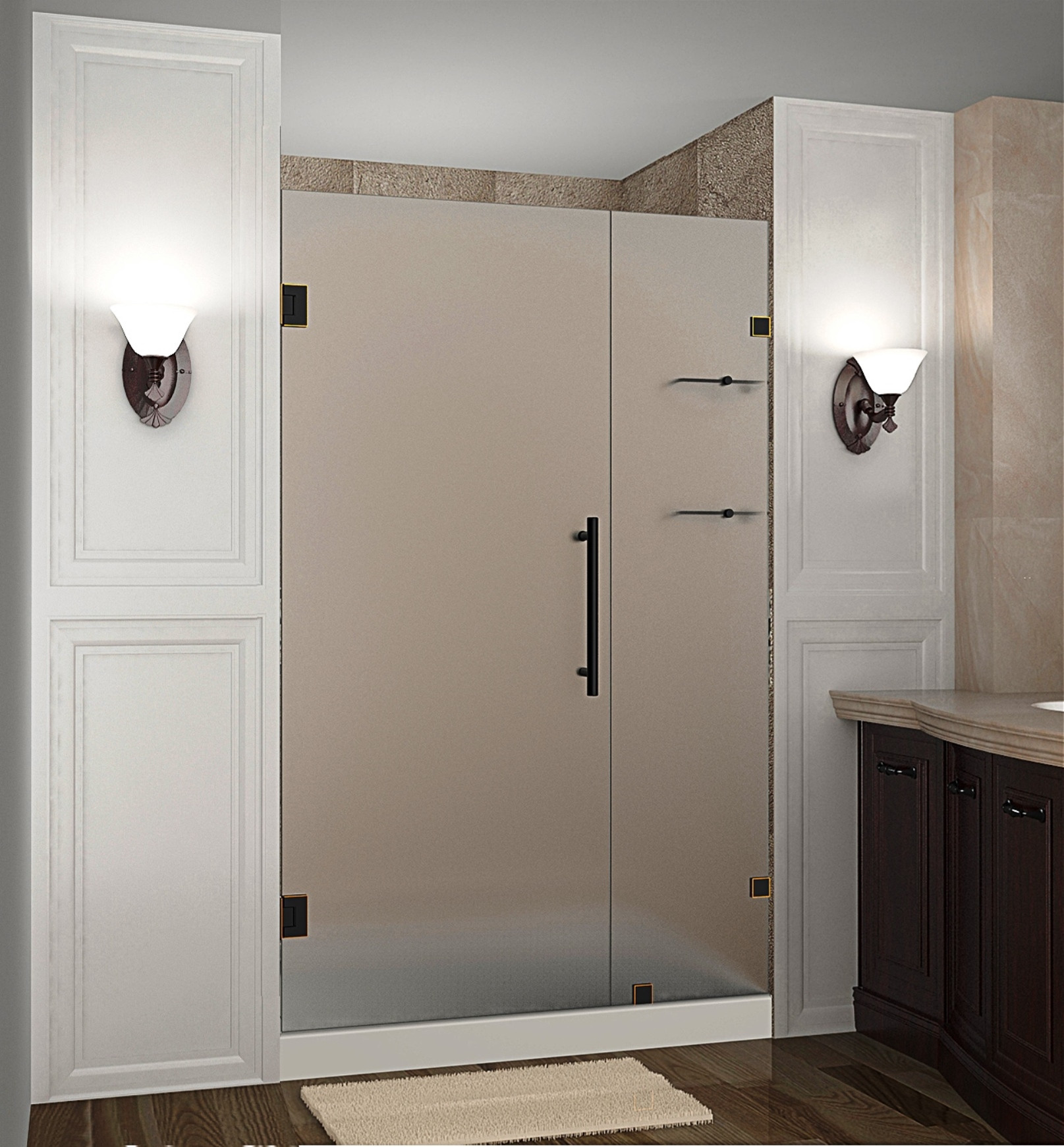 "Aston SDR990F-ORB-45-10 45 x 72"" Frosted Glass Hinged Shower Door with Shelves Oil Rubbed Bronze"