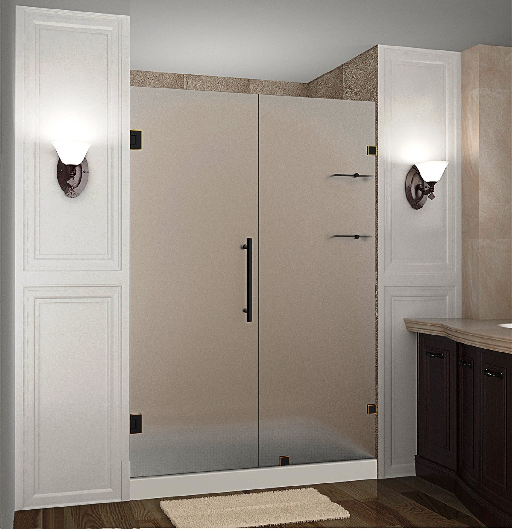 "Aston SDR990F-ORB-53-10 53 x 72"" Frosted Glass Hinged Shower Door with Shelves Oil Rubbed Bronze"