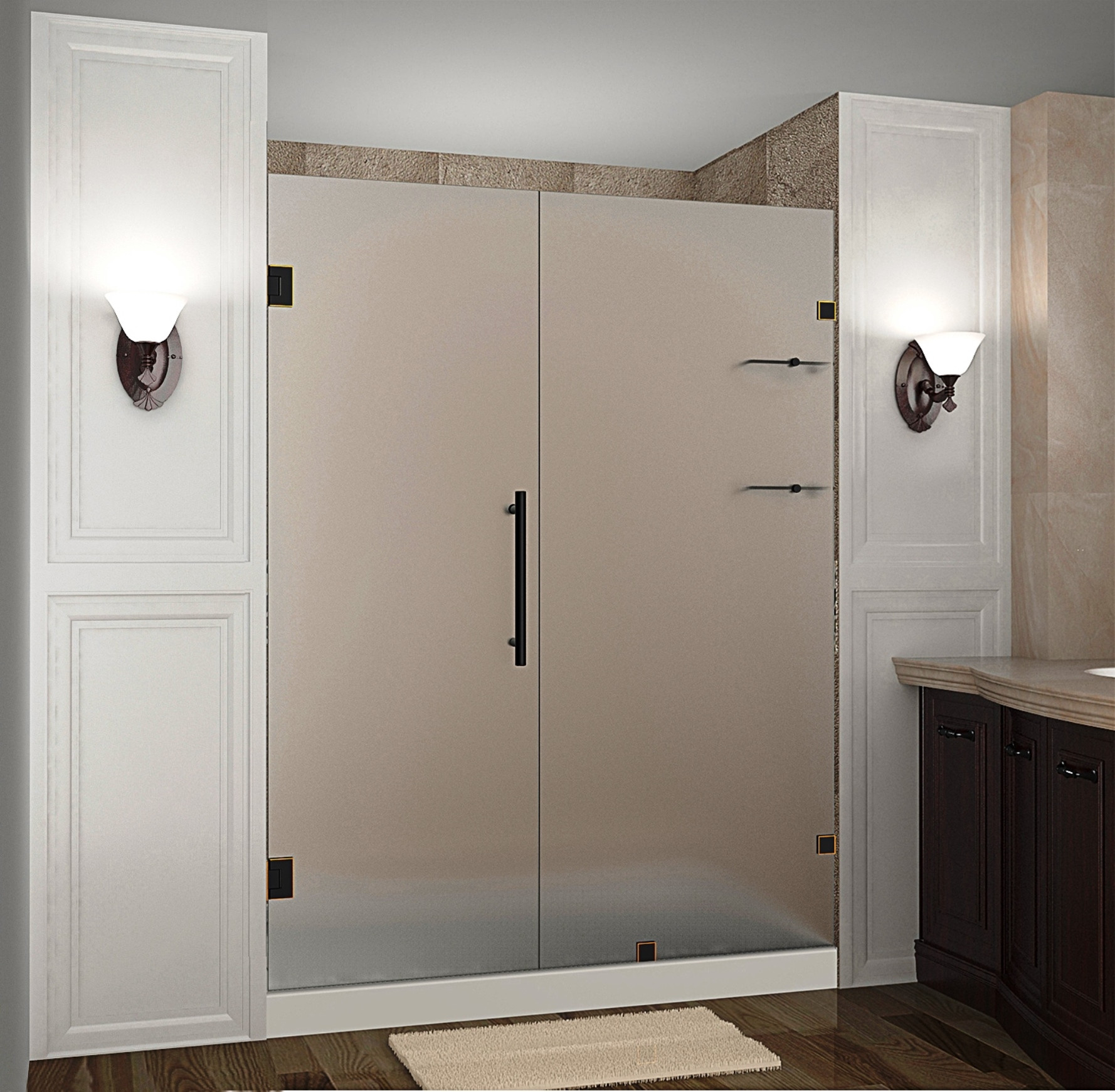 """Aston SDR990F-ORB-63-10 63 x 72"""" Frosted Glass Hinged Shower Door with Shelves Oil Rubbed Bronze"""
