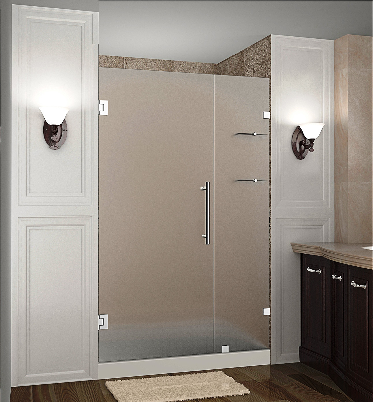 "Aston SDR990F-SS-43-10 43 x 72"" Frosted Glass Hinged Shower Door with Shelves Stainless Steel"