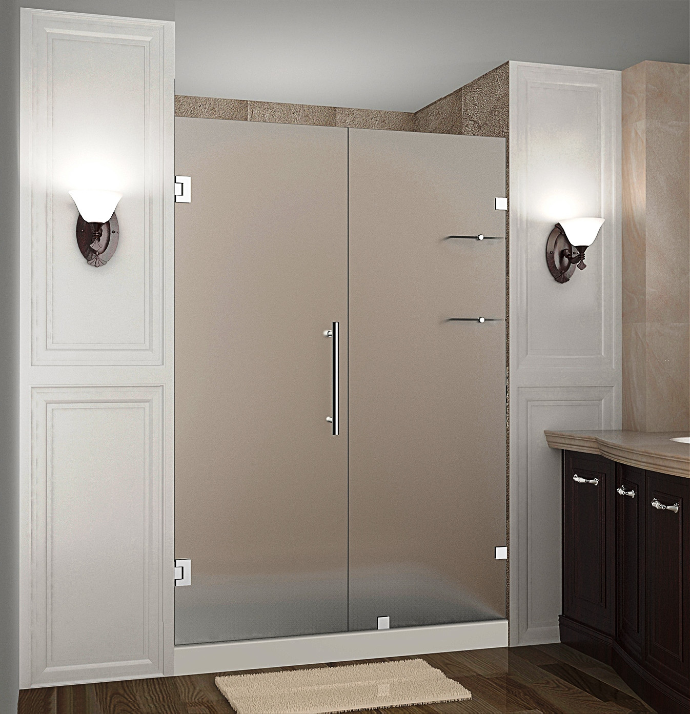 """Aston SDR990F-SS-51-10 51 x 72"""" Frosted Glass Hinged Shower Door with Shelves Stainless Steel"""