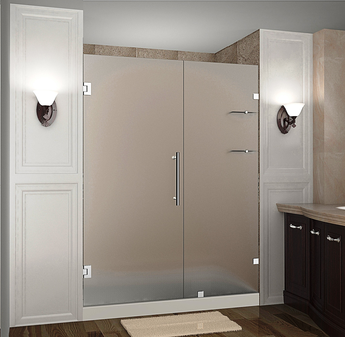 """Aston SDR990F-SS-64-10 64 x 72"""" Frosted Glass Hinged Shower Door with Shelves Stainless Steel"""