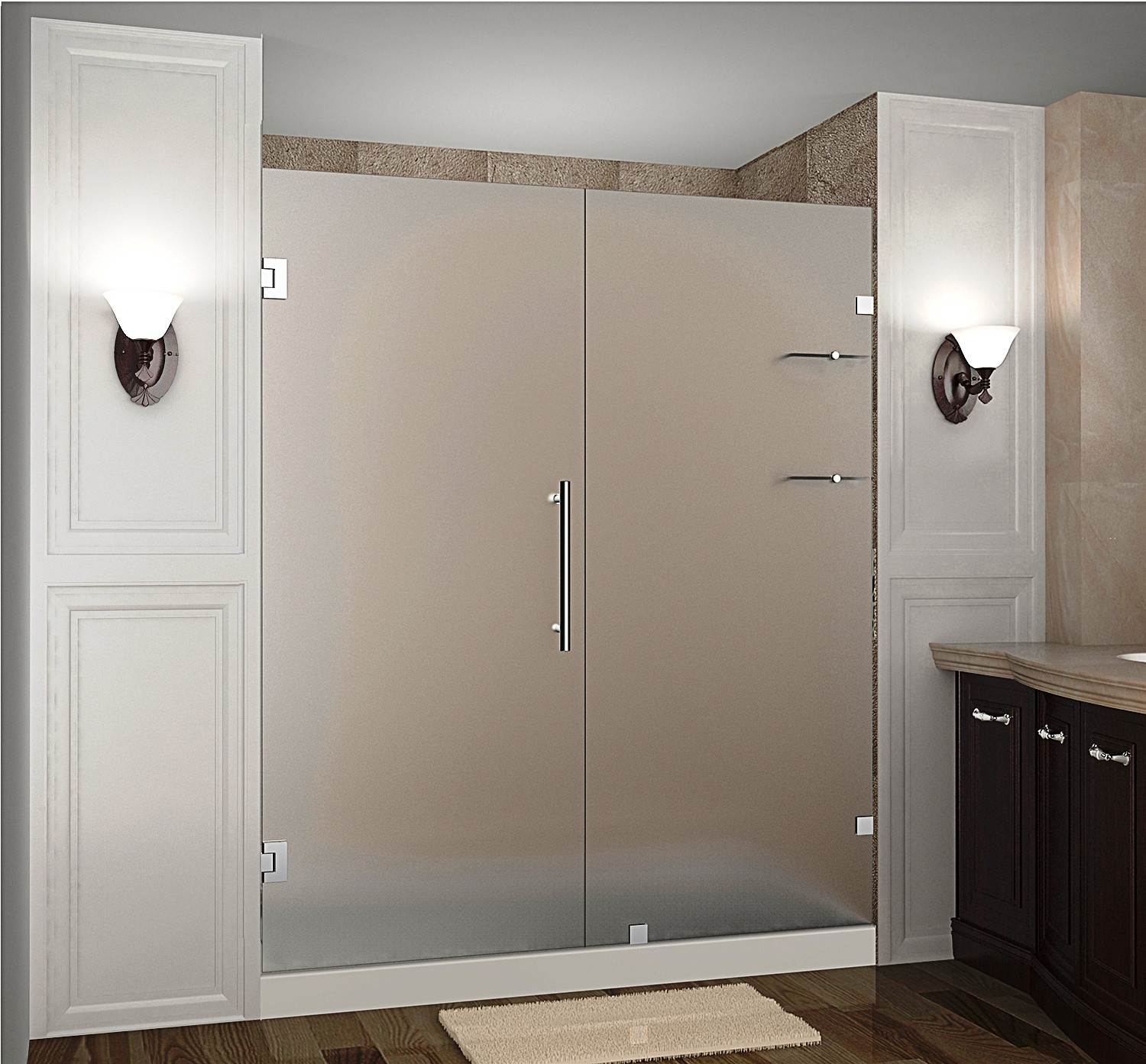 "Aston SDR990F-SS-76-10 76 x 72"" Frosted Glass Hinged Shower Door with Shelves Stainless Steel"