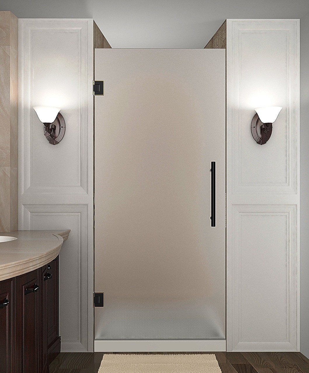 "Aston SDR995F-ORB-35-10 Oil Rubbed Bronze 35 x 72"" Completely Frameless Frosted Glass Shower Door"