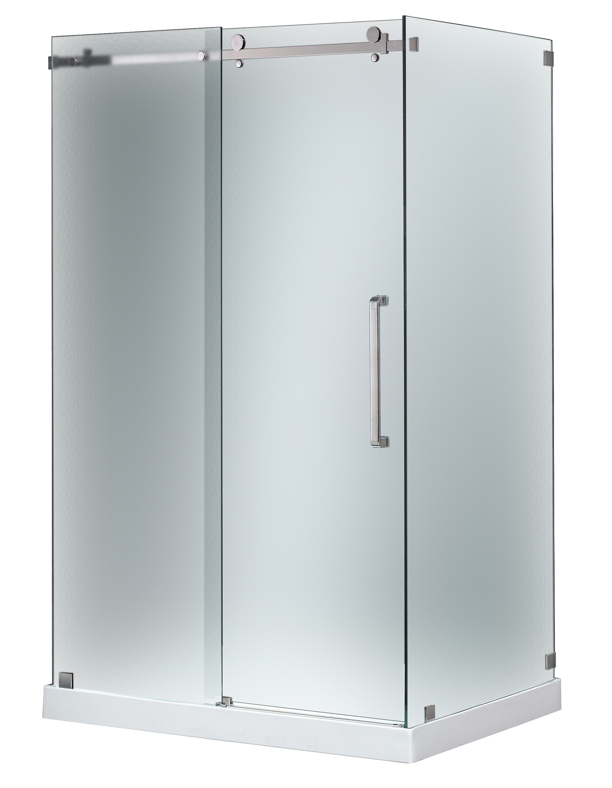 Aston Global SEN976F-TR-CH-48-10-R Sliding Shower Door Enclosure In Chrome with Base Right Drain