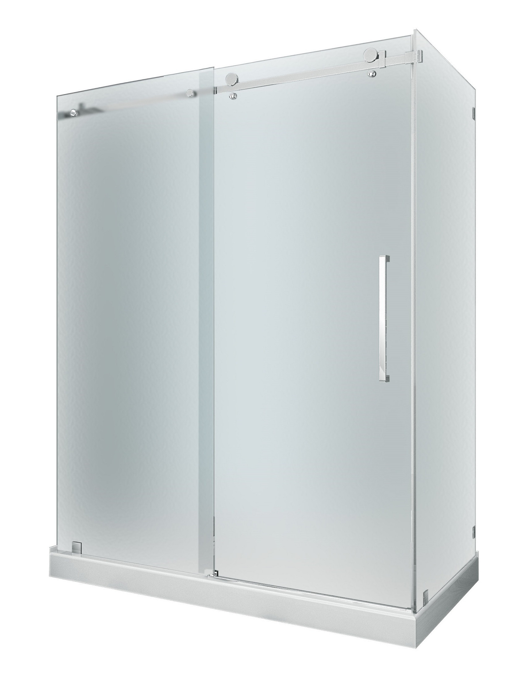 Aston Global SEN976F-TR-SS-60-10-R Sliding Shower Door Enclosure In Stainless Steel with Base