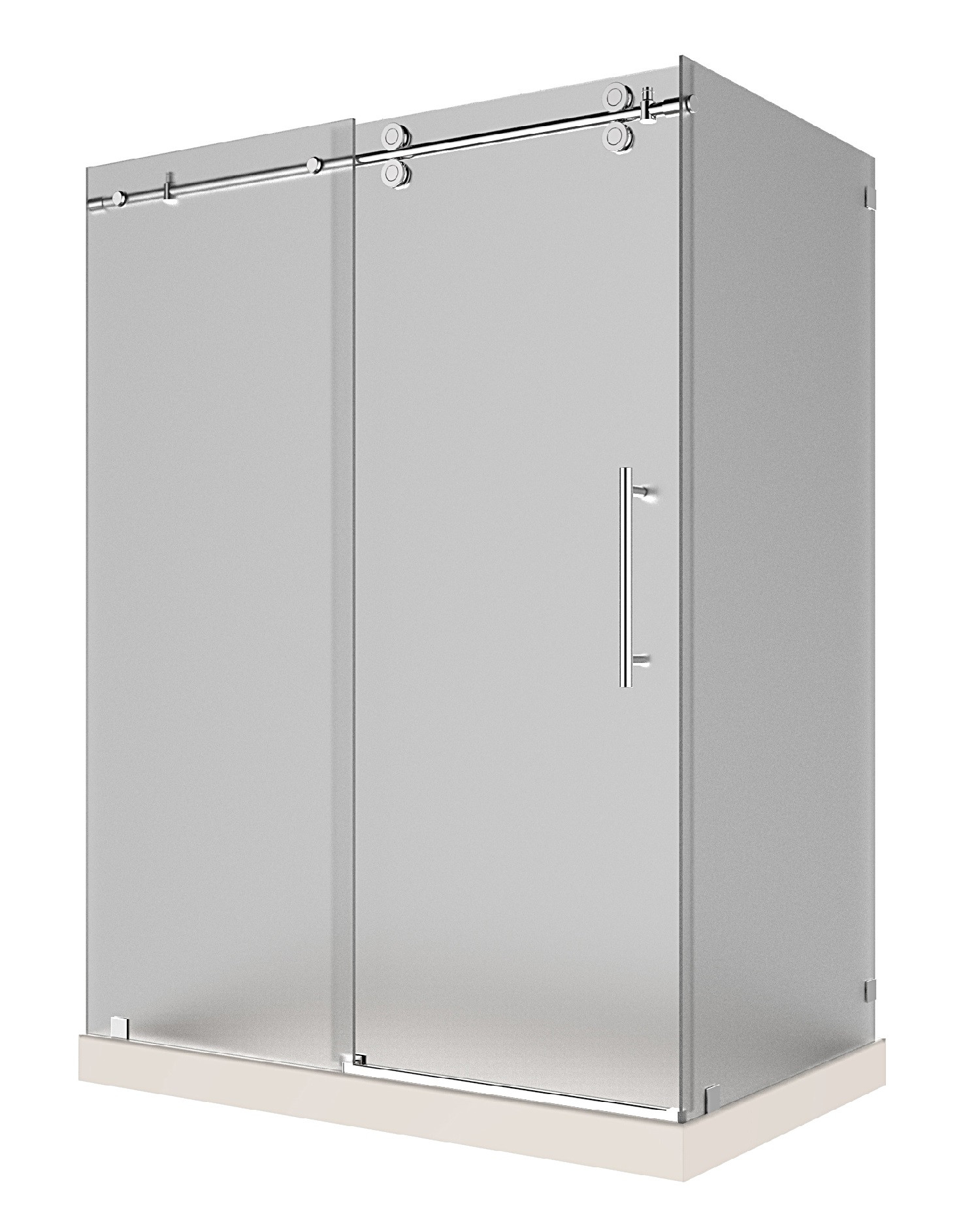 Aston Global SEN979F-TR-CH-60-10-R Frosted Glass Sliding Shower Enclosure In Chrome with Right Base