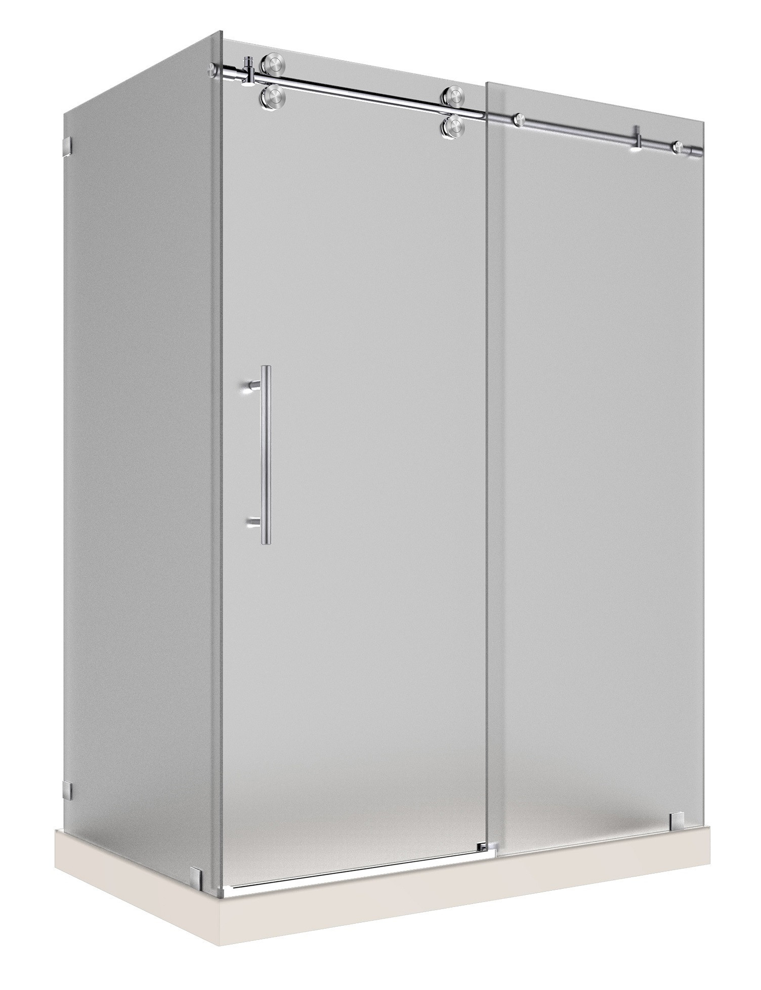 Aston Global SEN979F-TR-SS-60-10-L Frosted Glass Shower Enclosure In Stainless Steel with Left Base