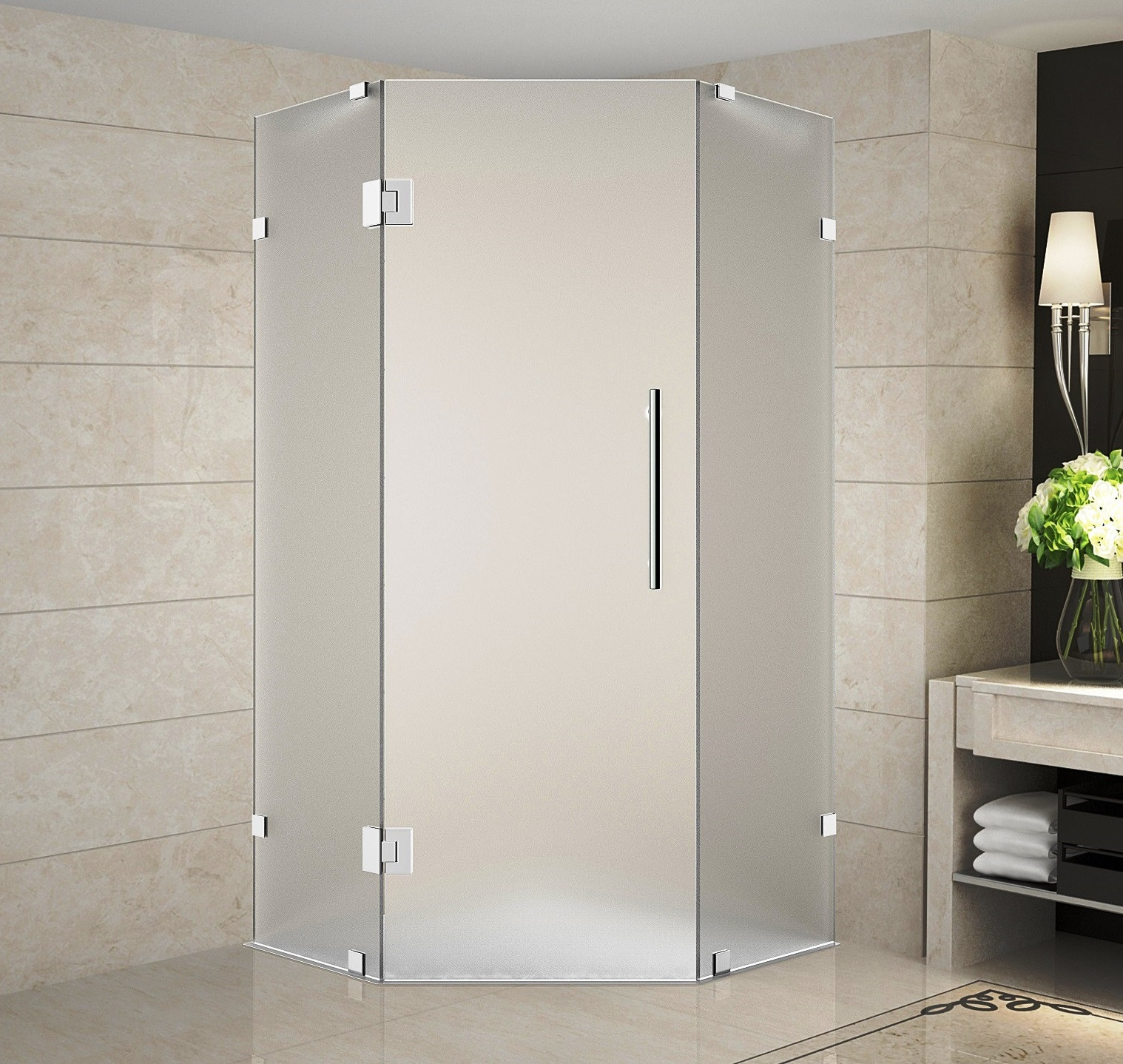 Aston Global SEN986F-CH-34-10 in Frameless Neo-Angle Frosted Glass Shower Enclosure In Chrome