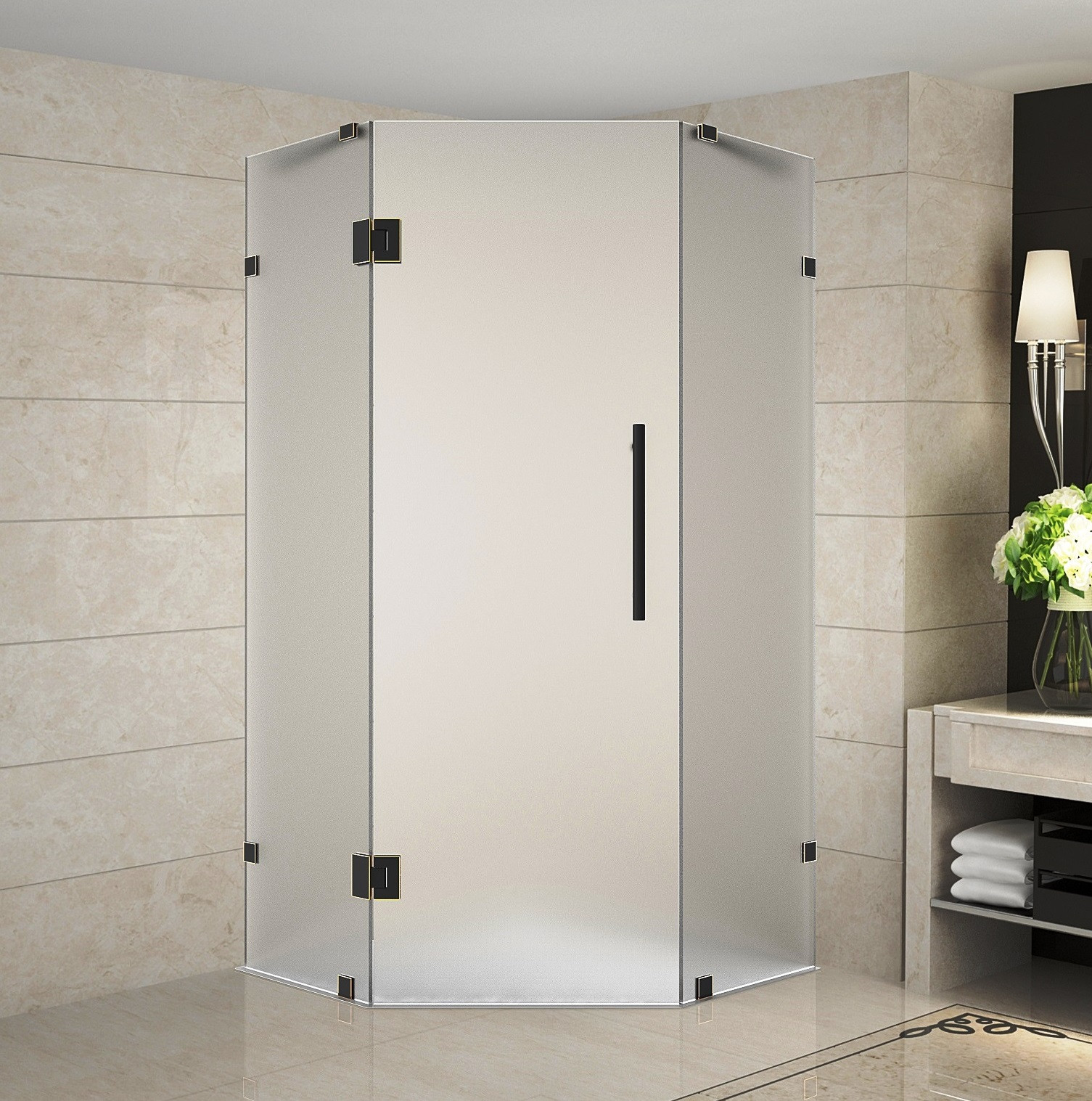 Aston Global SEN986F-ORB-36-10 Oil Rubbed Bronze Frameless Neo-Angle Frosted Glass Shower Enclosure