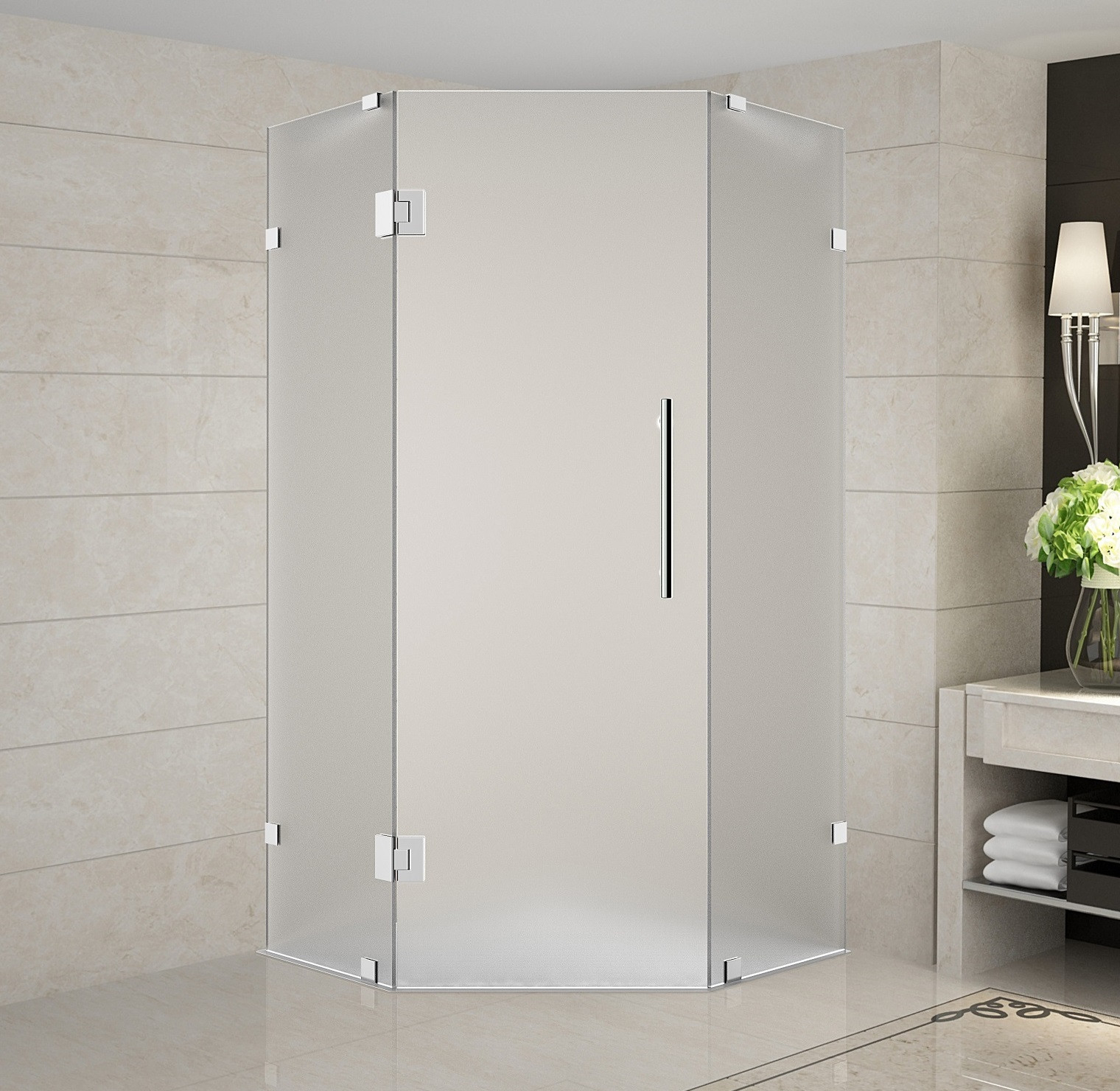 Aston Global SEN986F-SS-42-10 Frameless Frosted Glass Neo-Angle Shower Enclosure In Stainless Steel