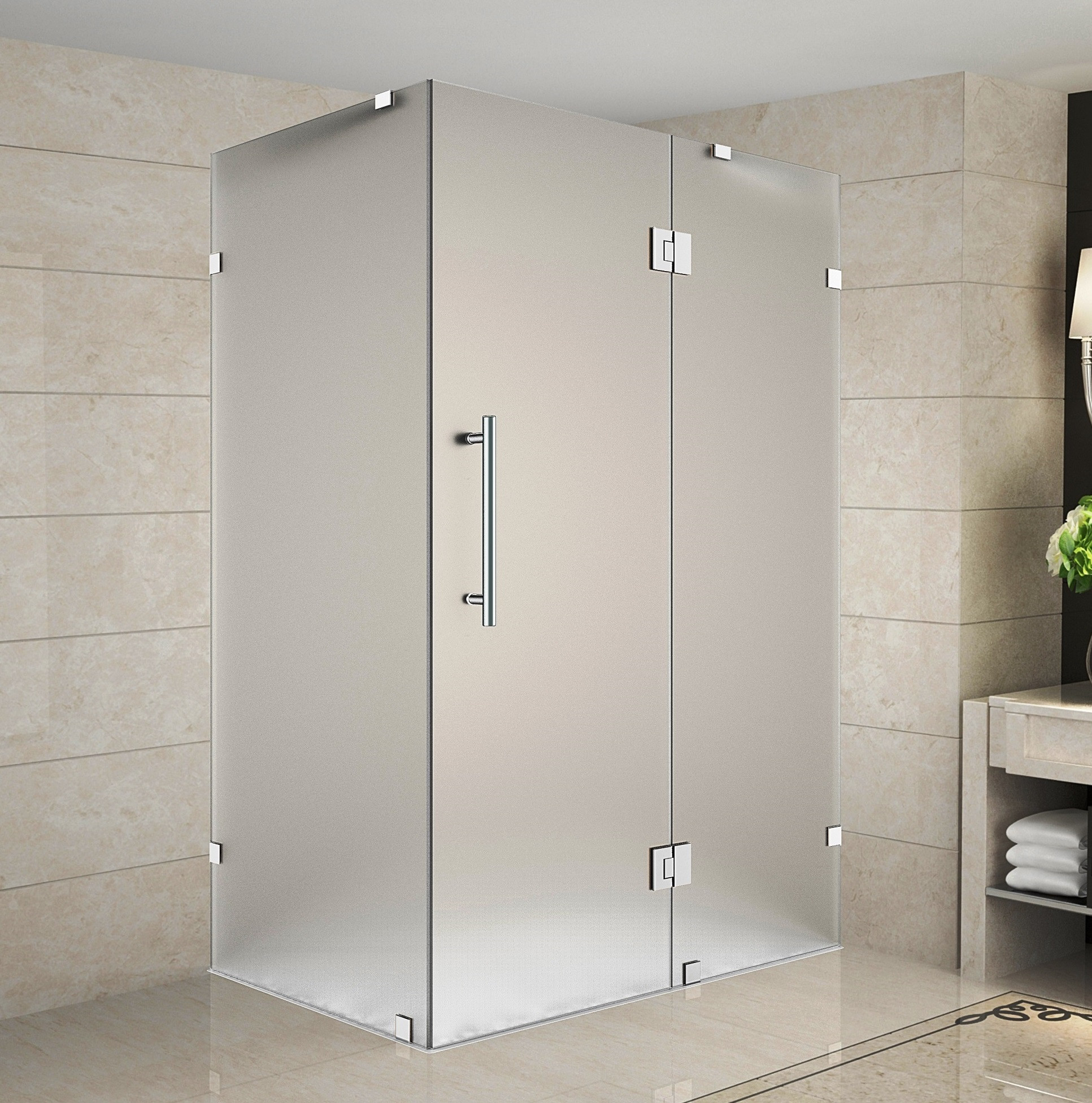 Aston Global SEN987F-CH-3636-10 Avalux Completely Frameless Frosted Glass Shower Enclosure In Chrome