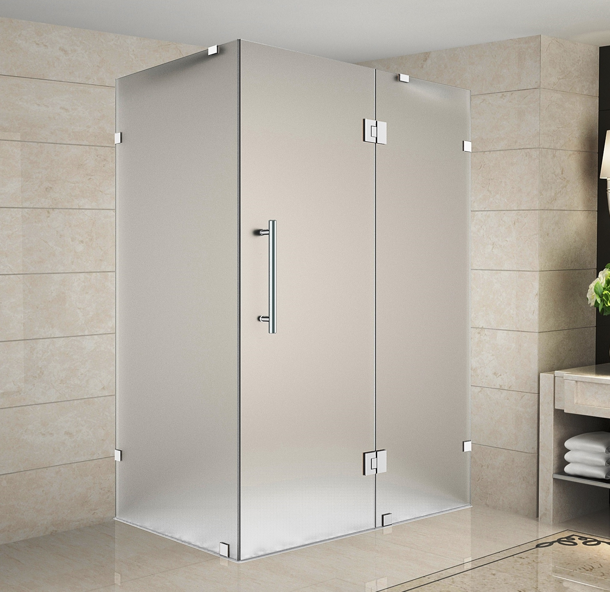 Aston Global SEN987F-CH-4838-10 Completely Frameless Frosted Glass Shower Enclosure In Chrome