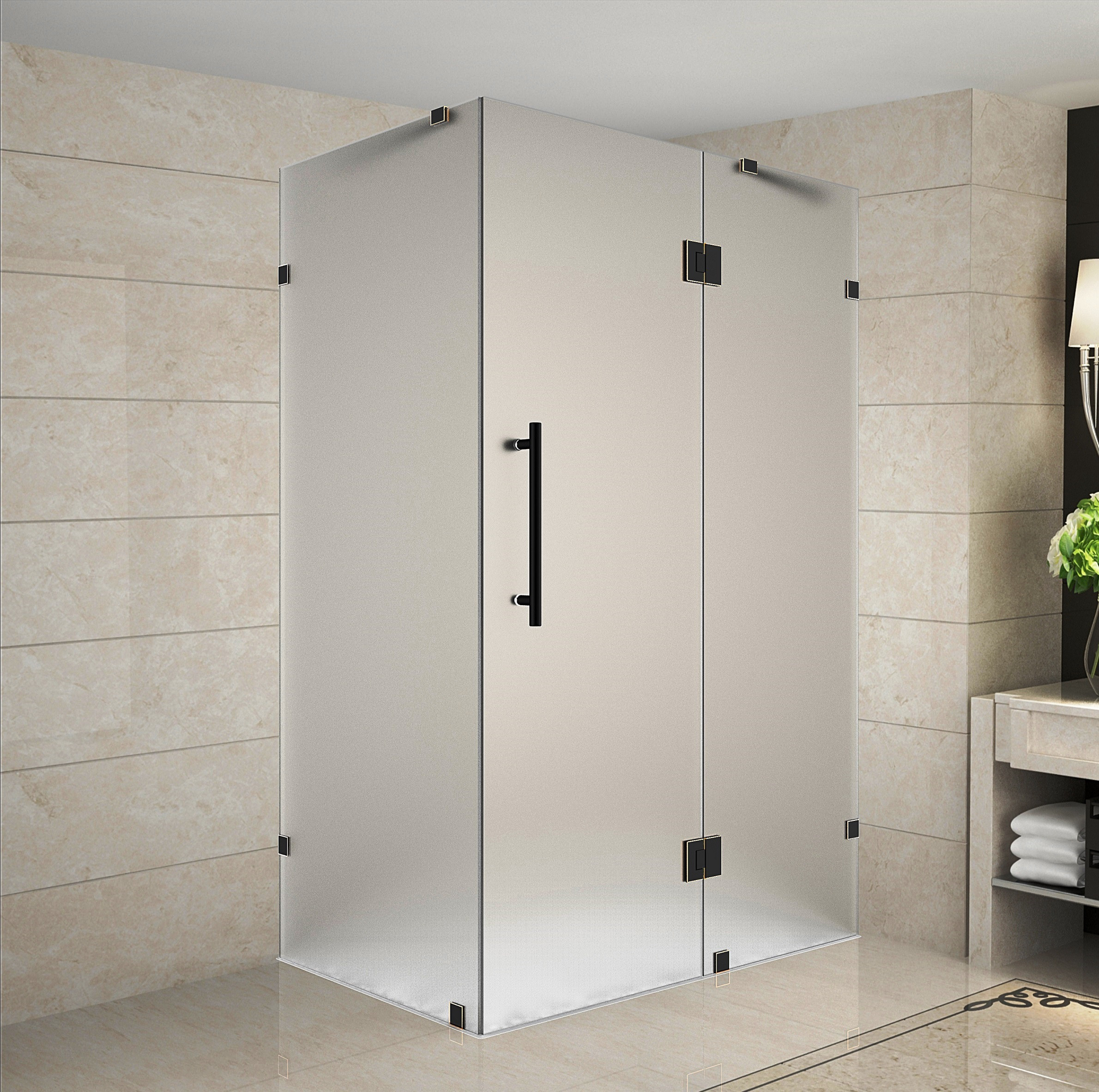 Aston Global SEN987F-ORB-3430-10 Frameless Frosted Glass Shower Enclosure In Oil Rubbed Bronze