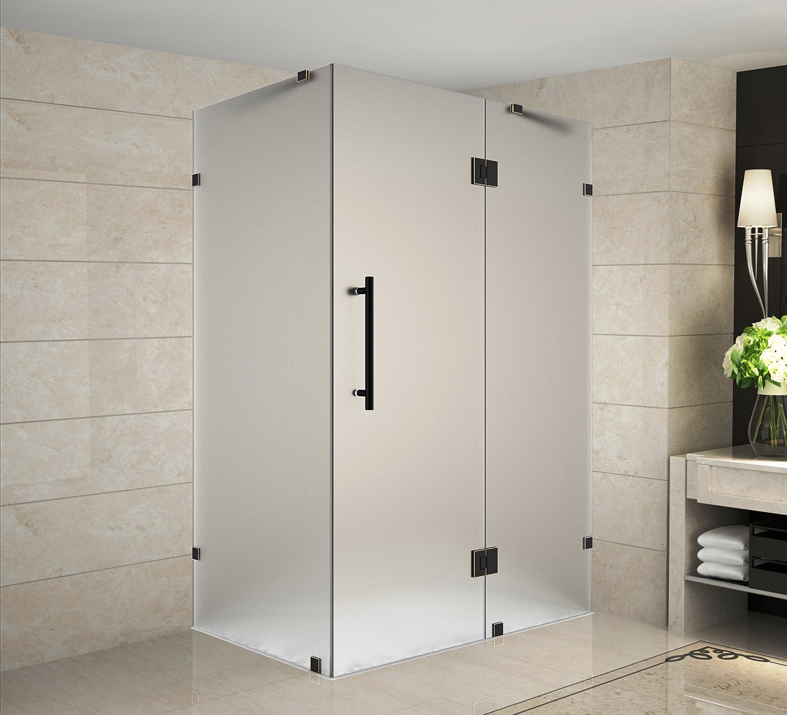 Aston SEN987F-ORB-3538-10 Completely Frameless Frosted Glass Shower Enclosure In Oil Rubbed Bronze