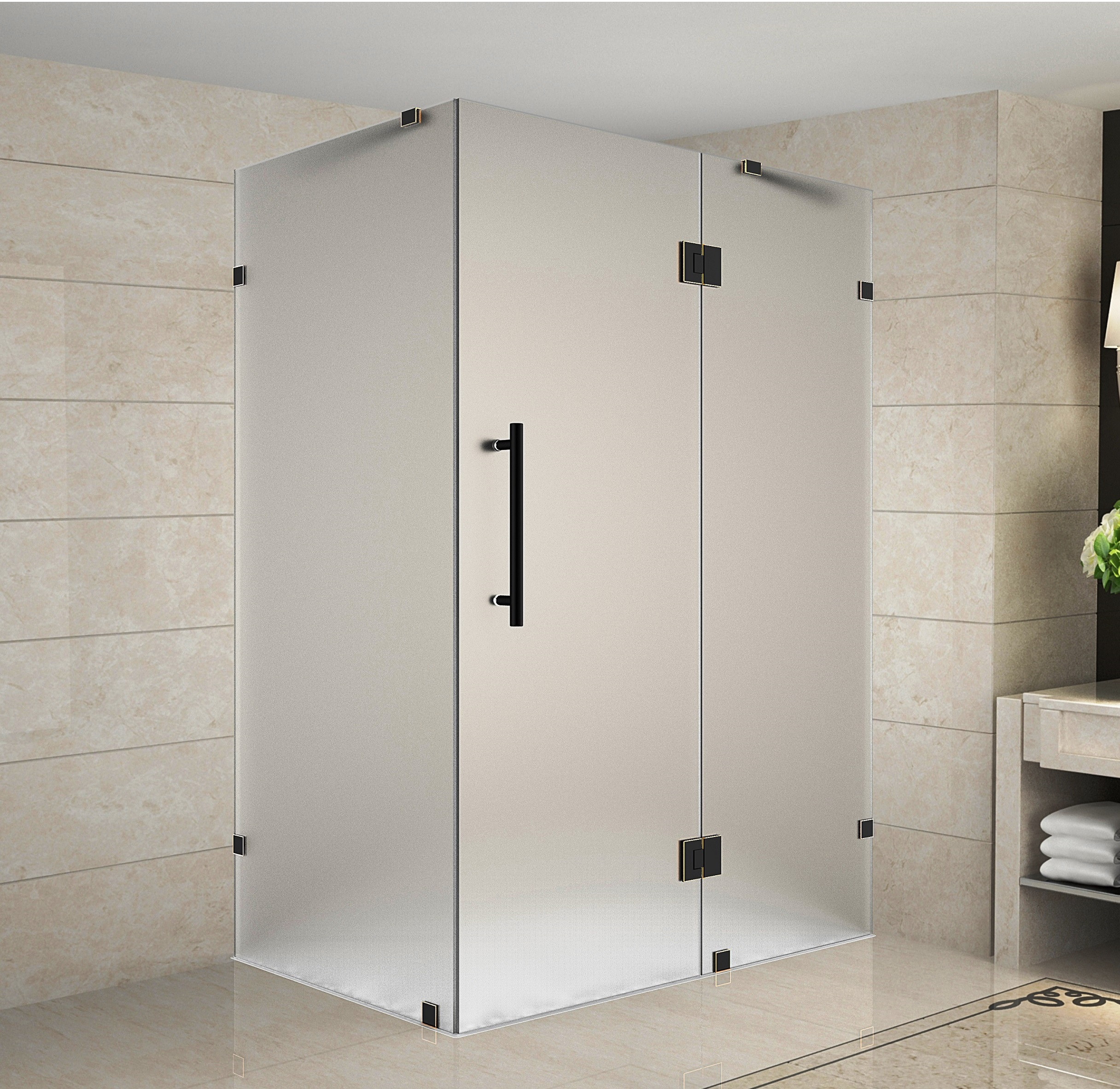 Aston Global SEN987F-ORB-4036-10 Oil Rubbed Bronze Completely Frameless Frosted Shower Enclosure
