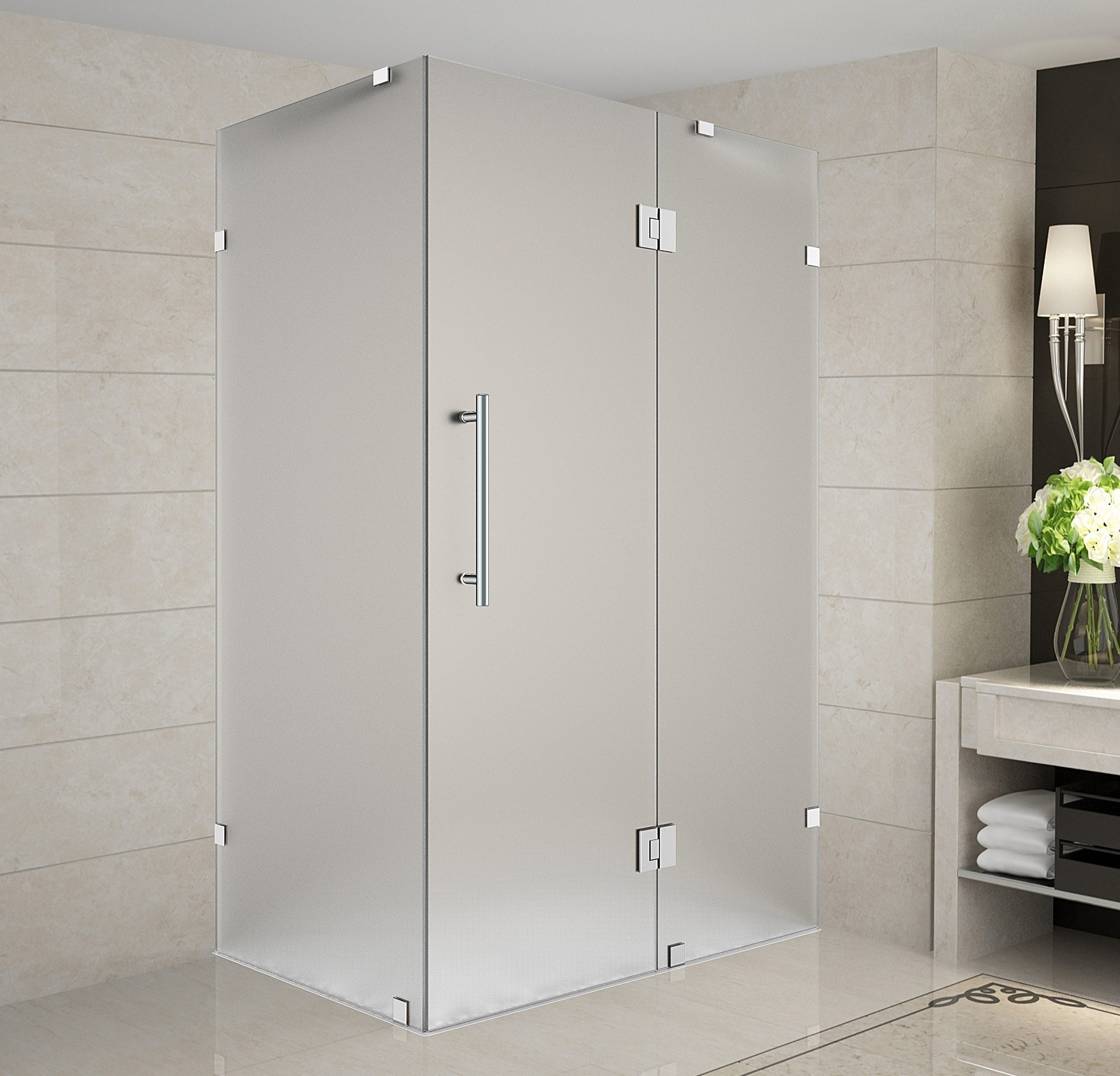 Aston Global SEN987F-SS-3232-10 Frameless Frosted Glass Shower Enclosure In Stainless Steel