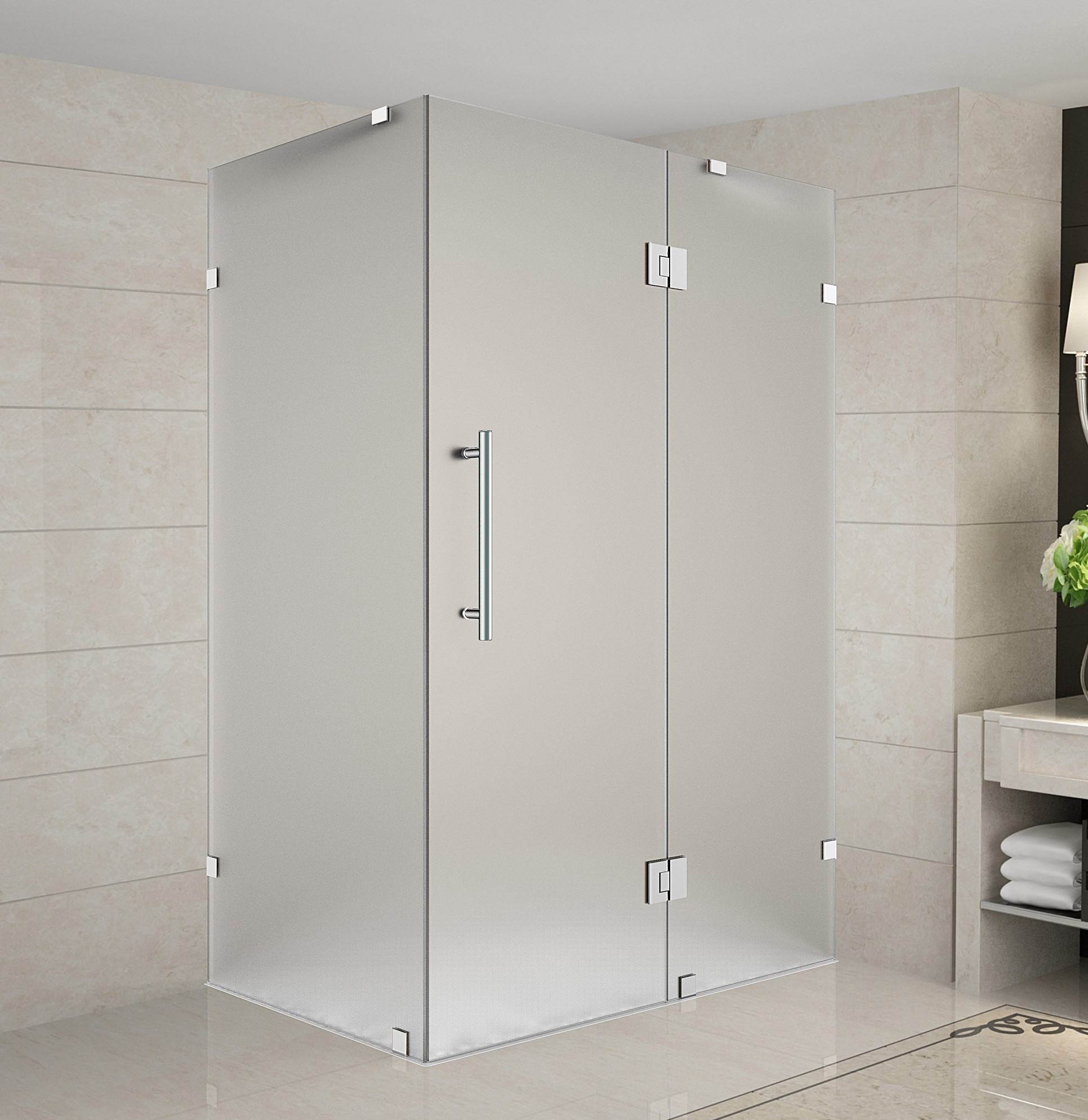 Aston Global SEN987F-SS-3638-10 Frameless Frosted Glass Shower Enclosure In Stainless Steel