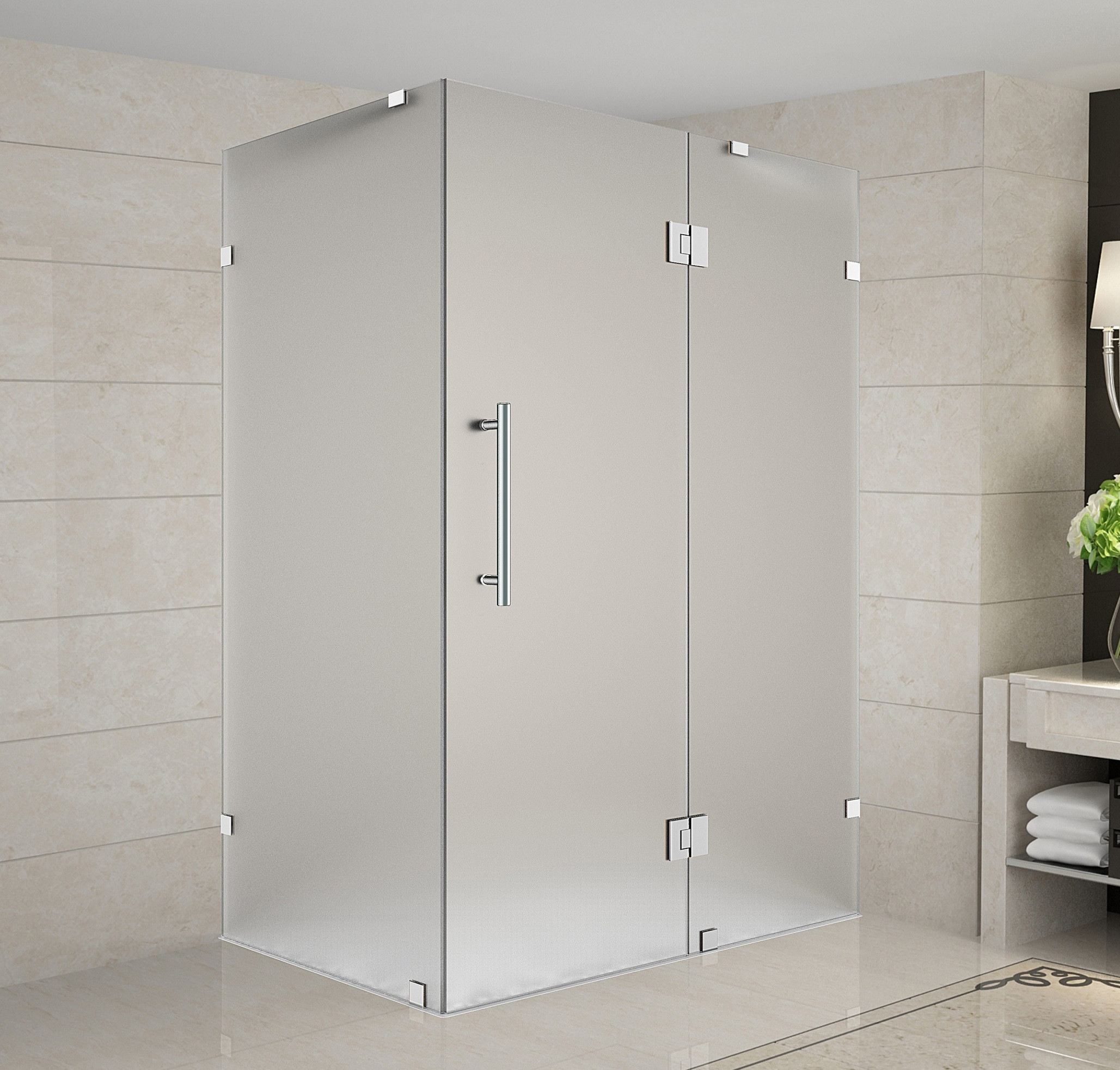 Aston Global SEN987F-SS-4034-10 Completely Frameless Frosted Shower Enclosure In Stainless Steel