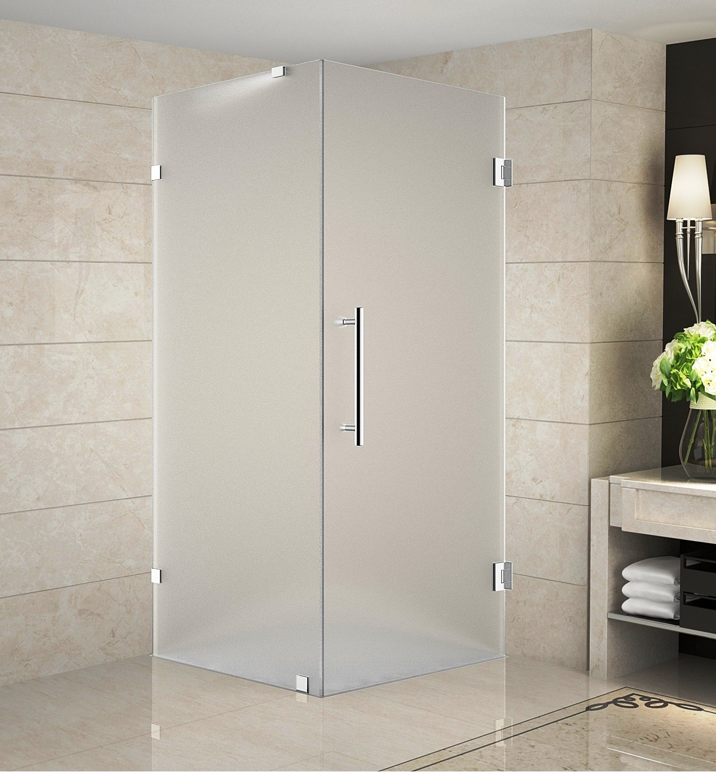 Aston Global SEN988F-CH-34-10 Completely Frameless Frosted Glass Square Shower Enclosure In Chrome