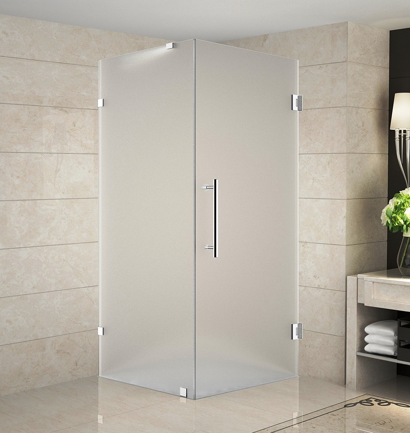 Aston Global SEN988F-SS-36-10 Completely Frameless Frosted Shower Enclosure In Stainless Steel
