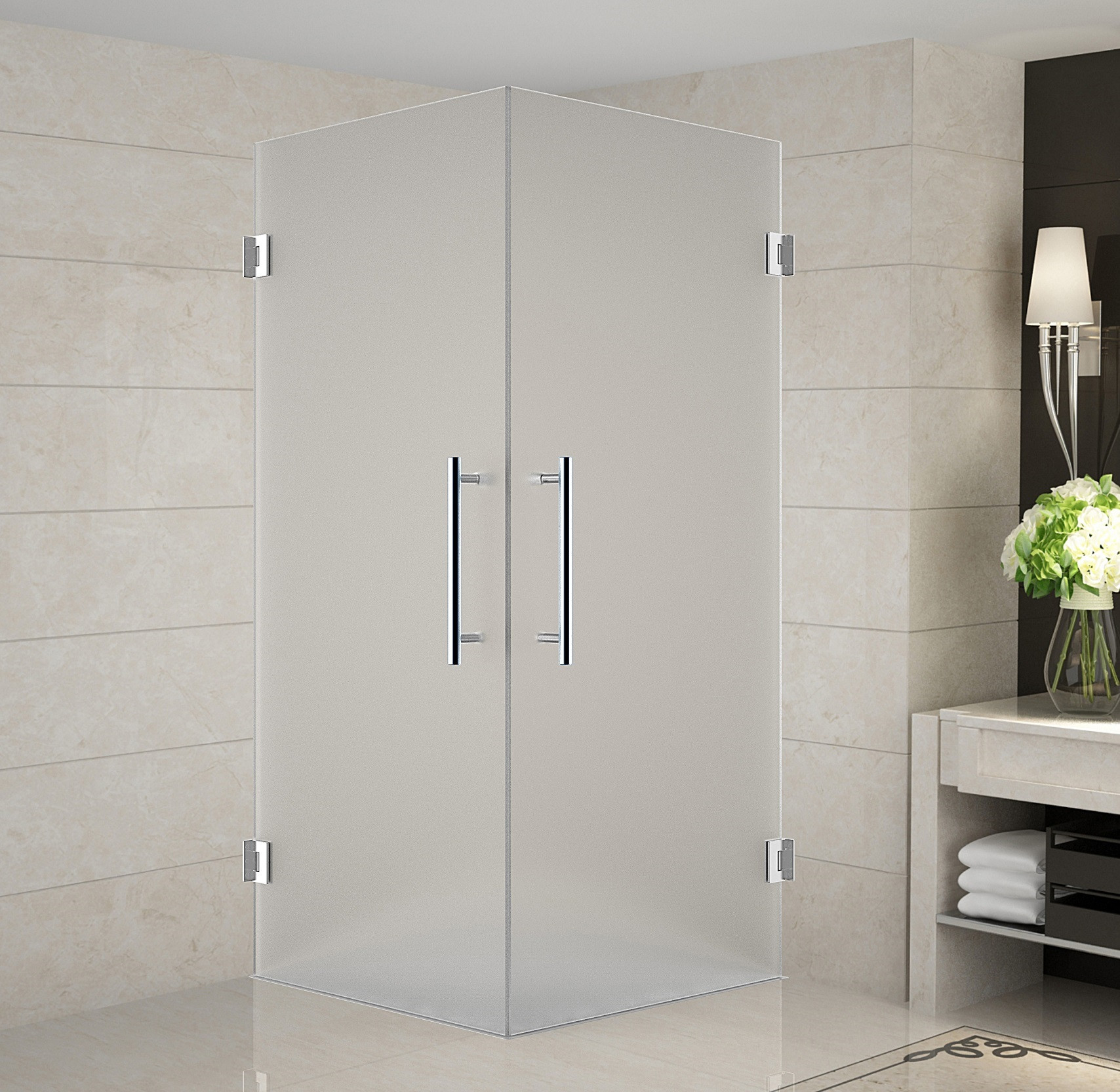 Aston Global SEN989F-CH-34-10 Completely Frameless Frosted Glass Shower Enclosure In Chrome