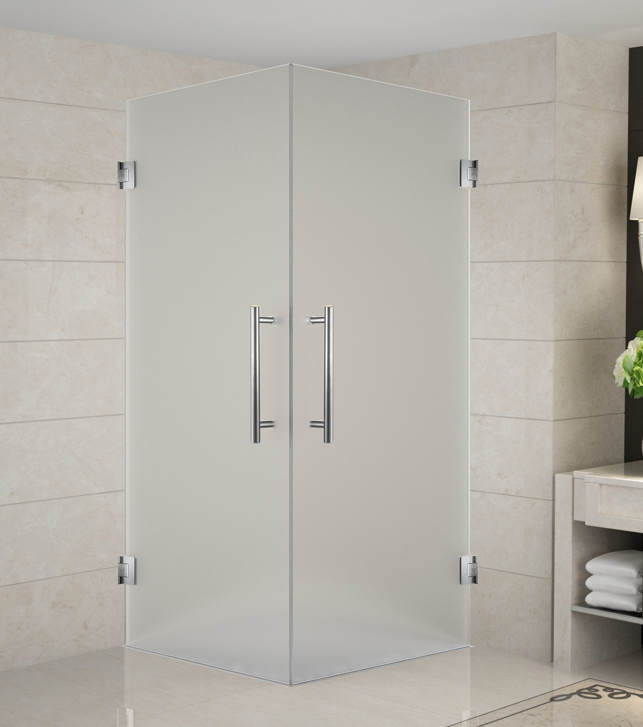 Aston Global SEN989F-SS-32-10 Stainless Steel Completely Frameless Dual-Door Square Shower Enclosure