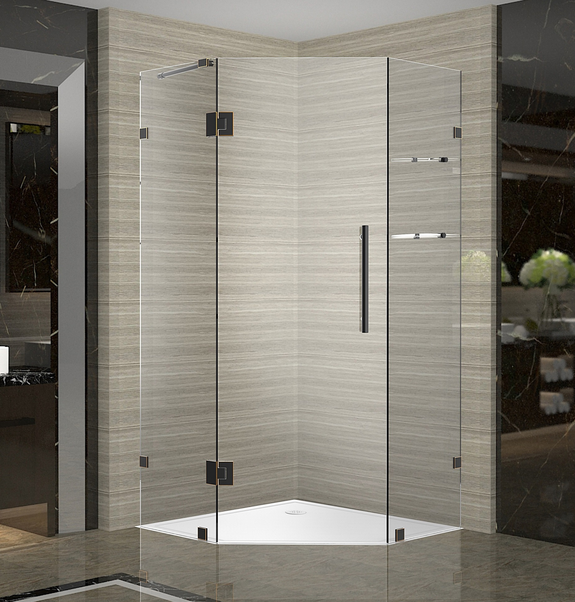Aston Global SEN991-ORB-40-10 Neo-Angle Shower Enclosure with Glass Shelves In Oil Rubbed Bronze