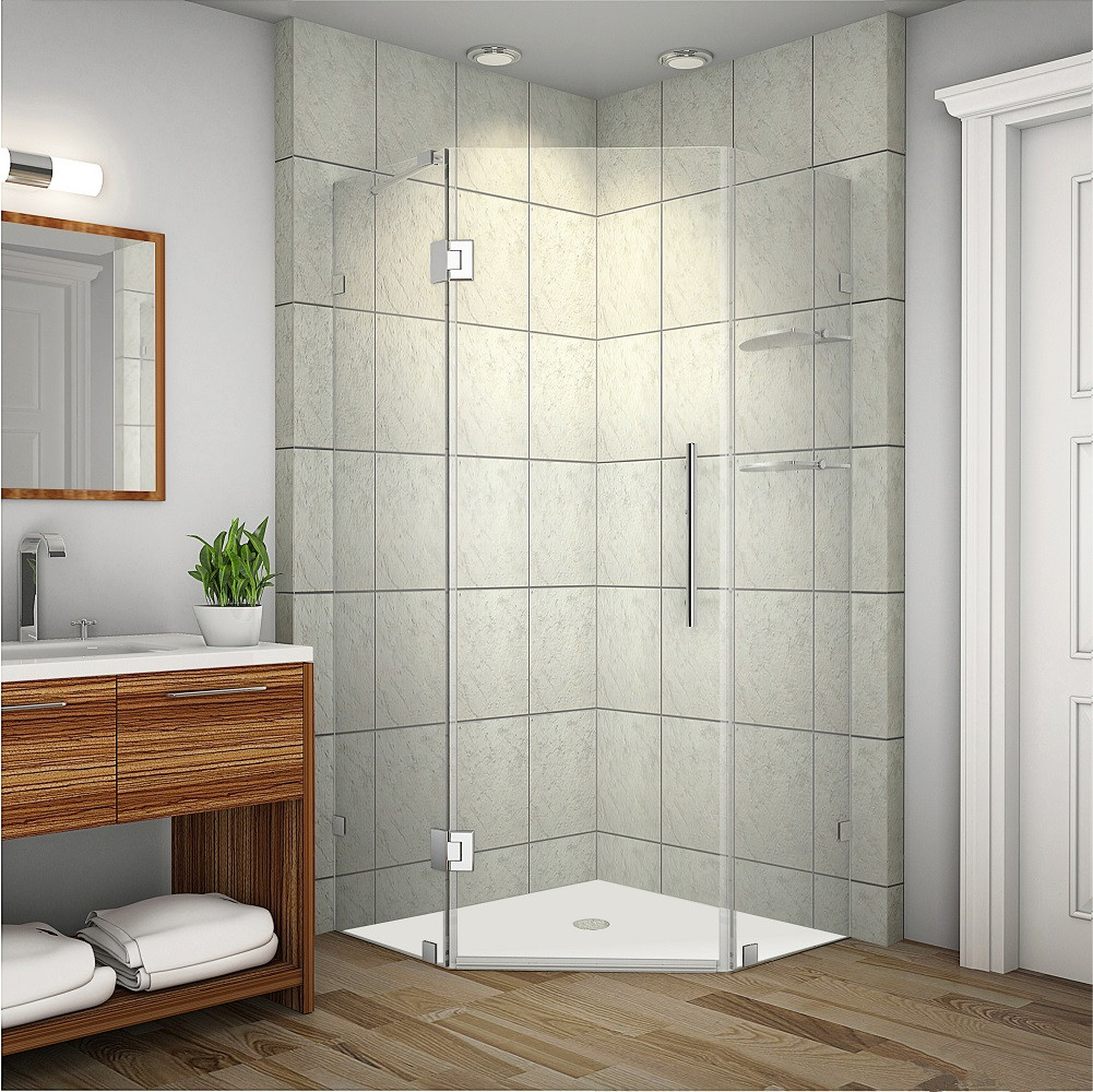Aston Global SEN991-SS-36-10 Completely Frameless Neo-Angle Shower Enclosure in Stainless Steel