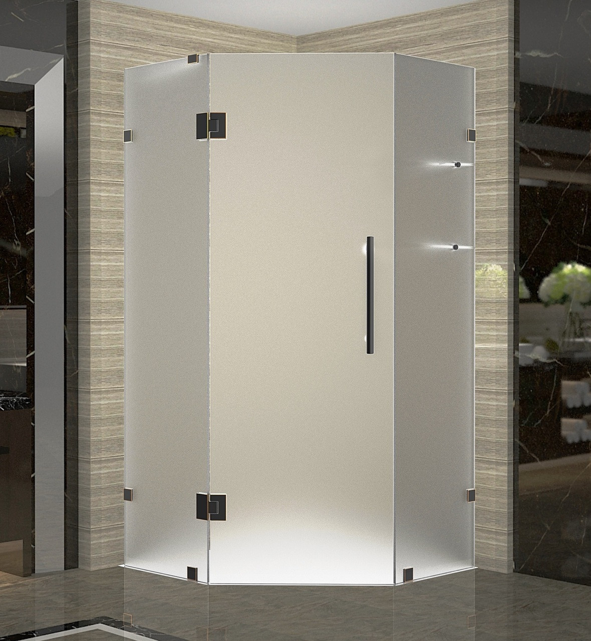Aston SEN991F-ORB-40-10 Frameless Neo-Angle Shower Enclosure Frosted Glass In Oil Rubbed Bronze
