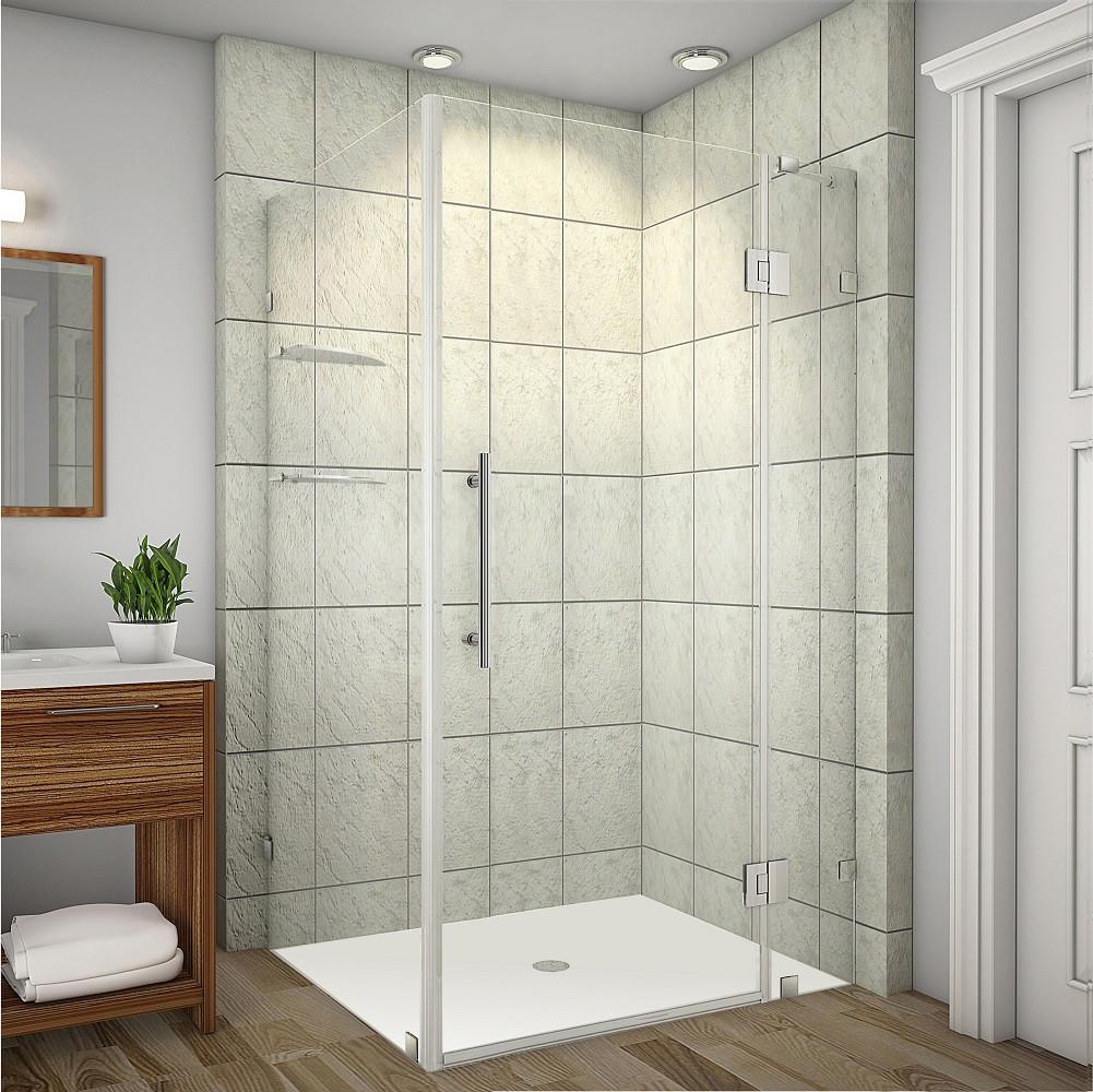 Aston Global SEN992-CH-4032-10 Completely Frameless Shower Enclosure with Glass Shelves in Chrome