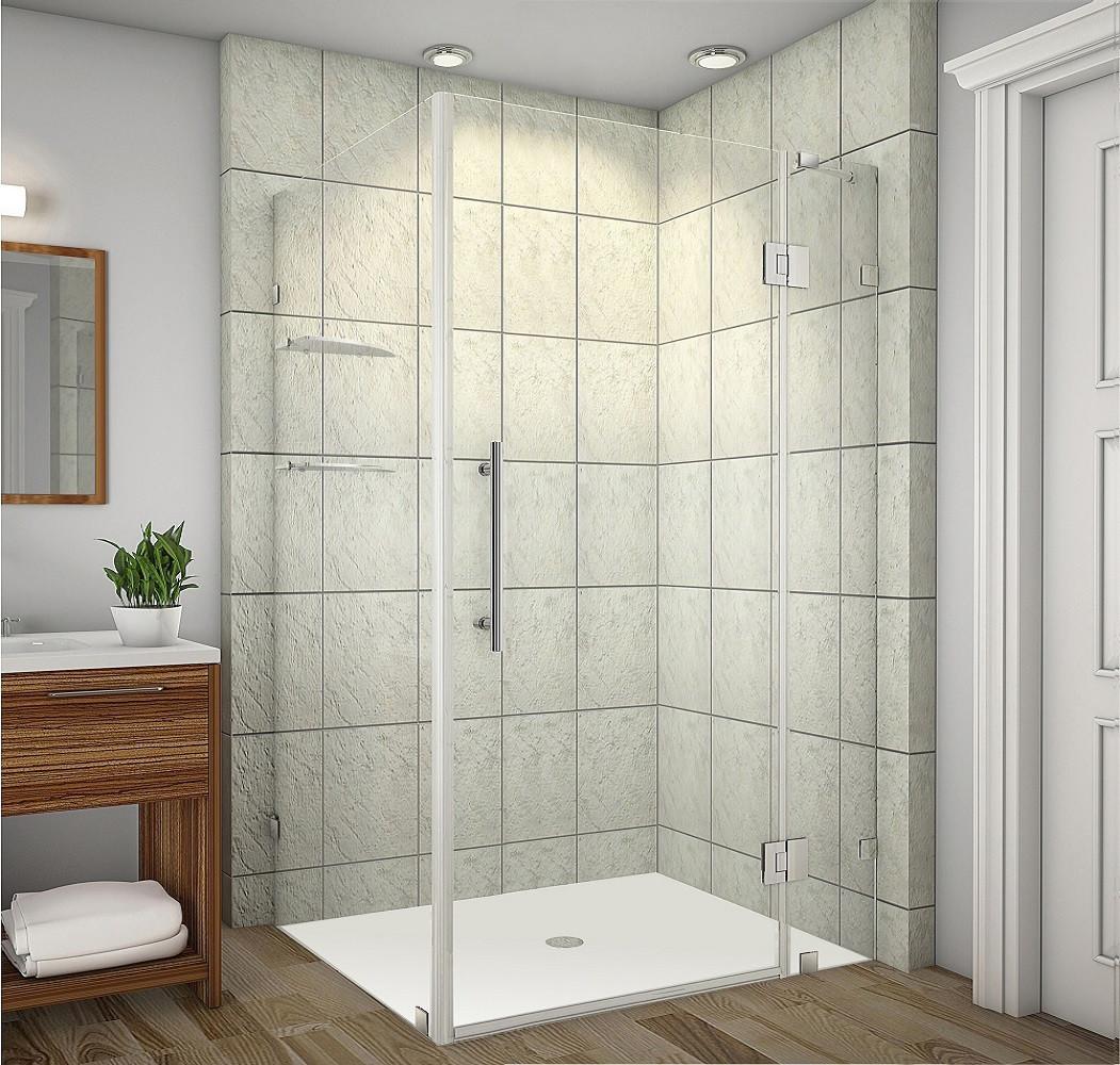 Aston Global SEN992-CH-4836-10 Completely Frameless Shower Enclosure with Glass Shelves in Chrome