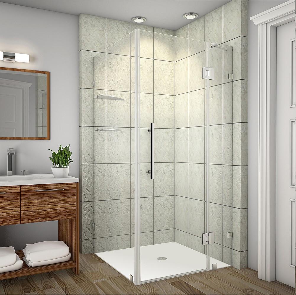 Aston Global SEN992-SS-3838-10 Completely Frameless Shower Enclosure in Stainless Steel