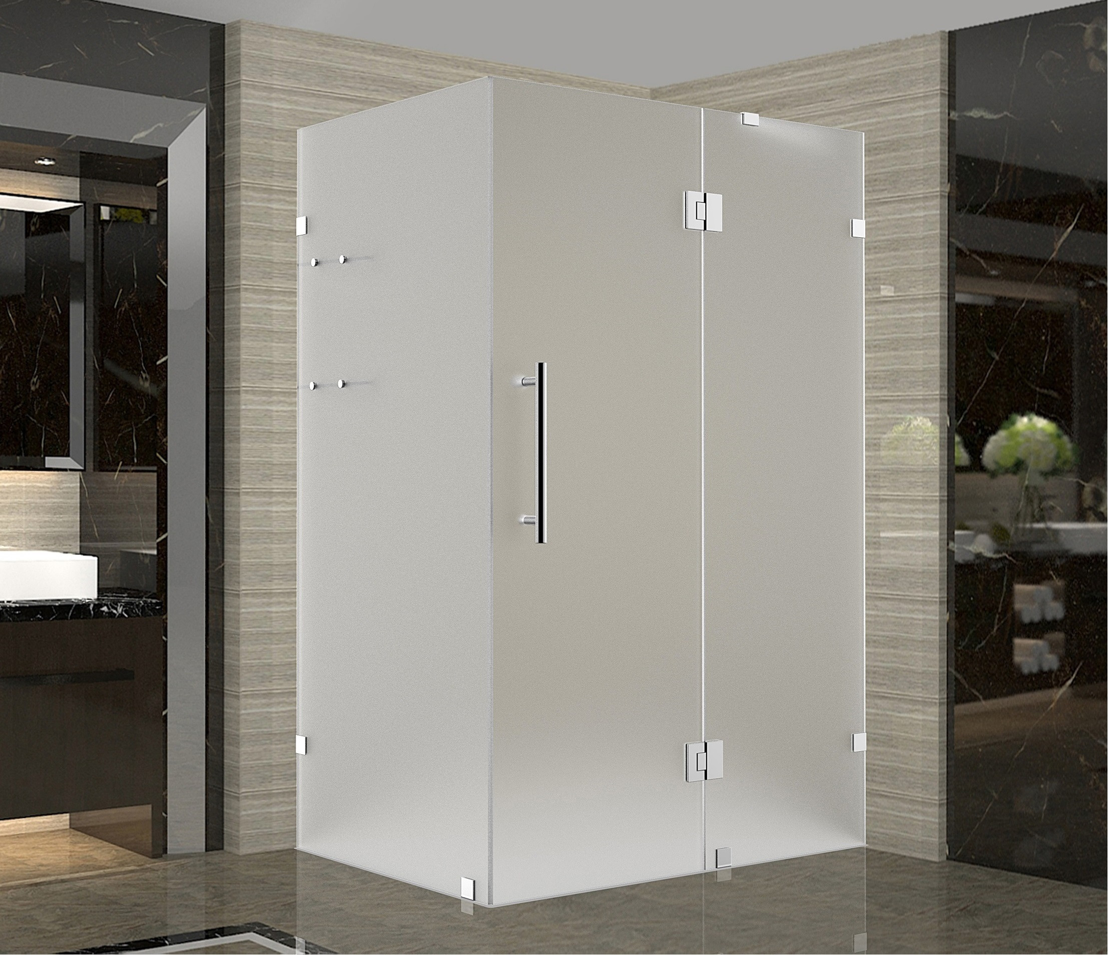 Aston Global SEN992F-CH-3838-10 Chrome Completely Frameless Frosted Shower Enclosure with Shelves