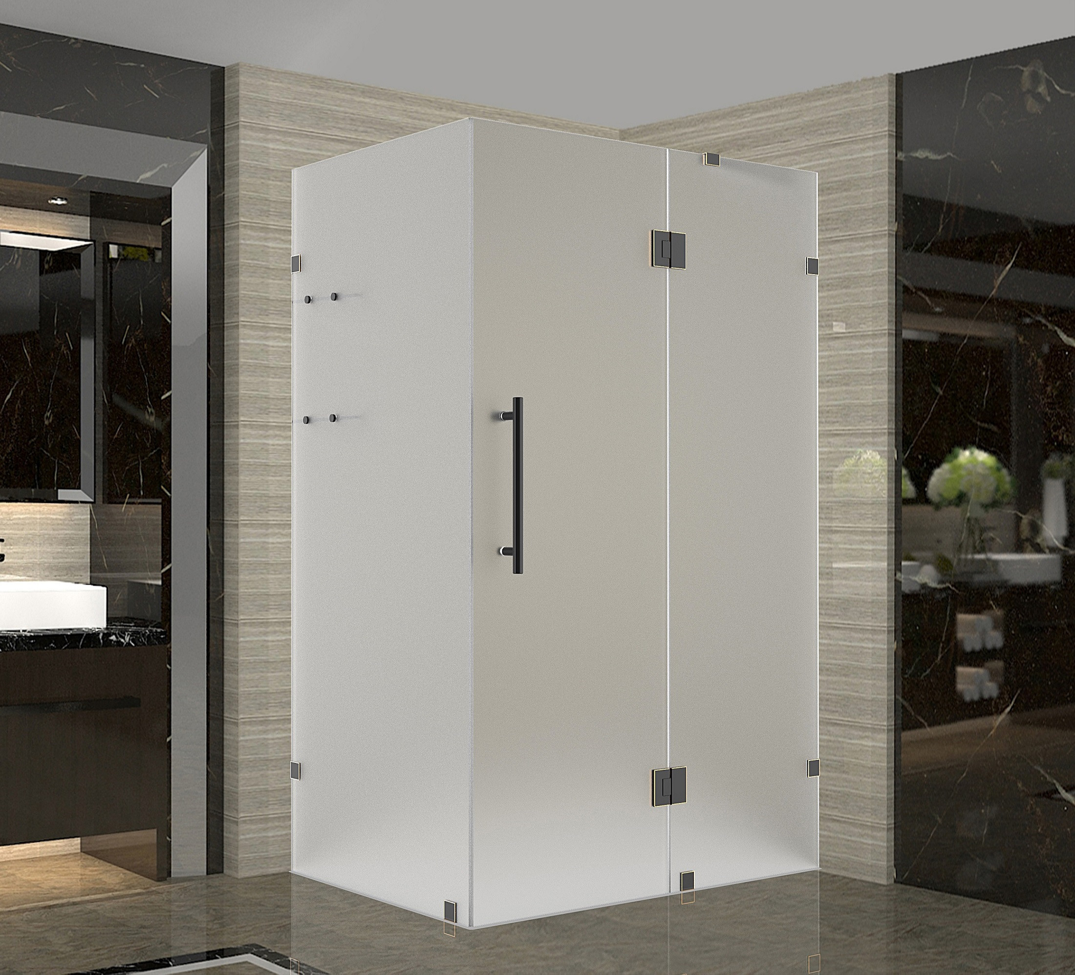 Aston Global SEN992F-ORB-3430-10 Oil Rubbed Bronze Completely Frameless Frosted Shower Enclosure