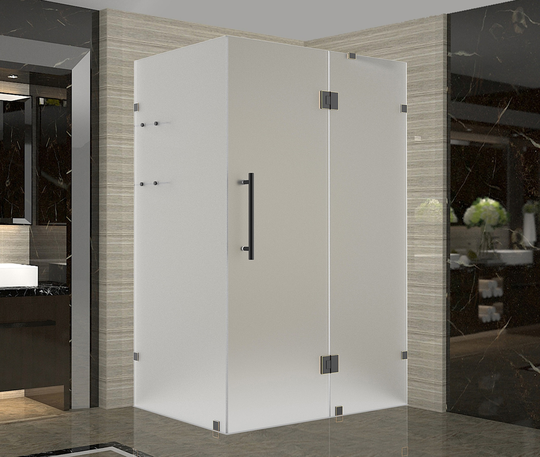 Aston Global SEN992F-ORB-3738-10 Oil Rubbed Bronze Completely Frameless Frosted Shower Enclosure