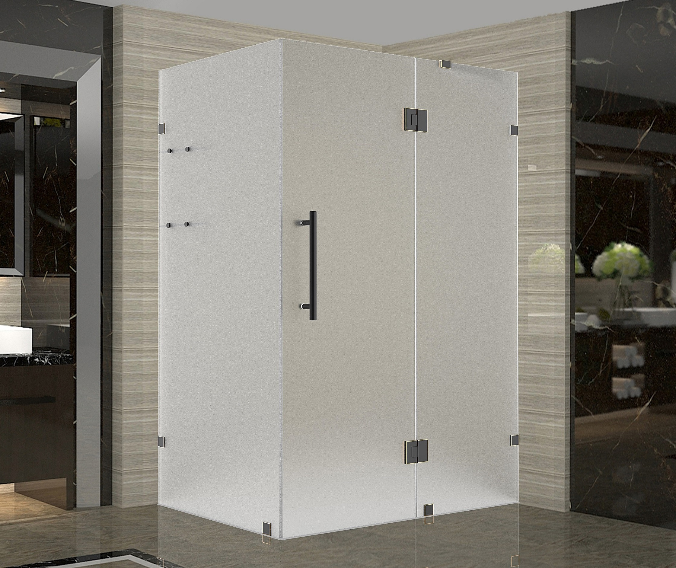 Aston Global SEN992F-ORB-4832-10 Completely Frameless Frosted Shower Enclosure In Oil Rubbed Bronze