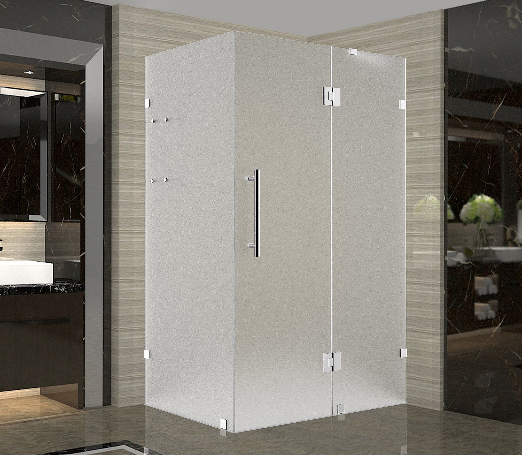 Aston Global SEN992F-SS-3232-10 Stainless Steel Completely Frameless Frosted Glass Shower Enclosure