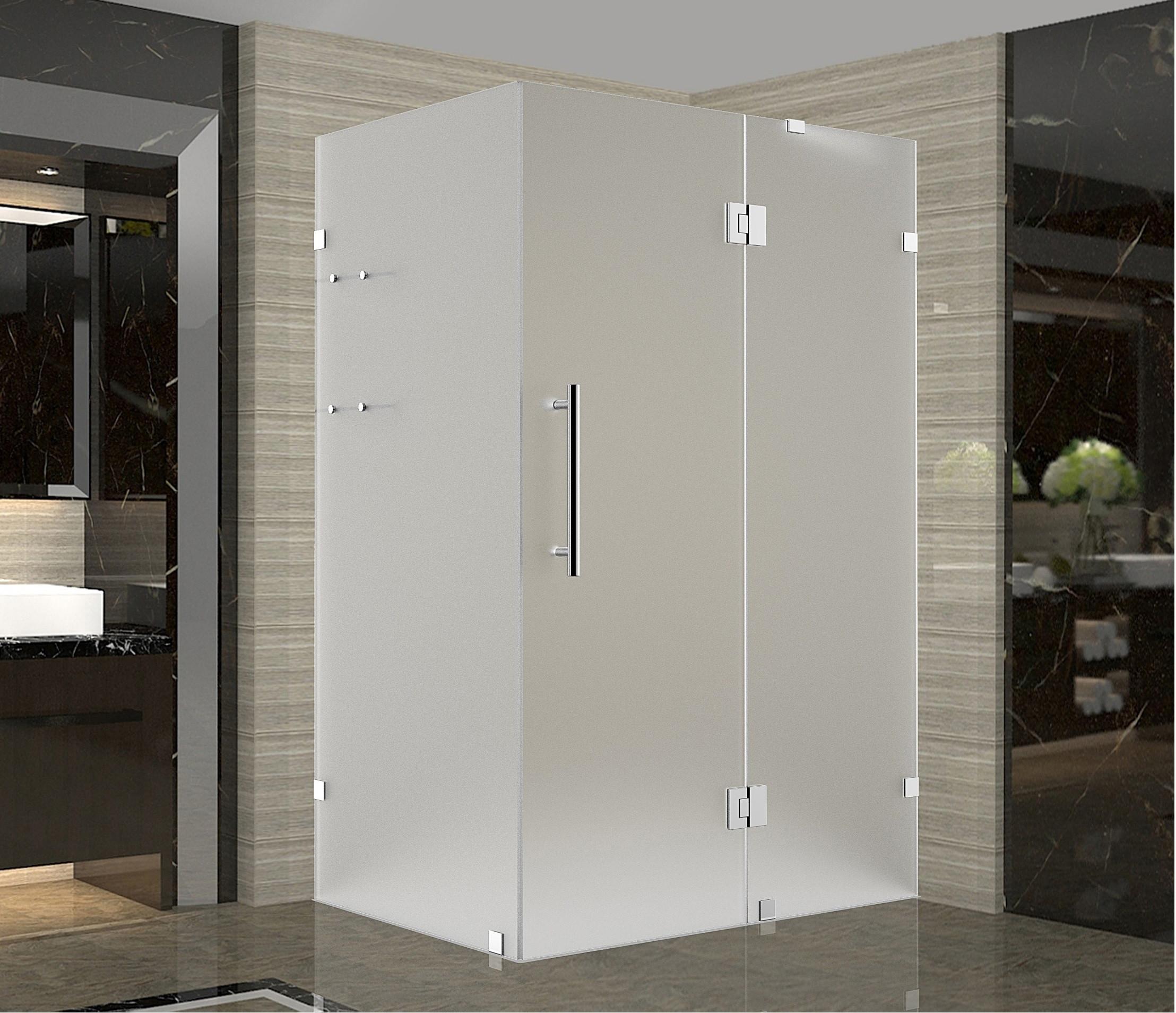 Aston Global SEN992F-SS-3734-10 Stainless Steel Completely Frameless Frosted Glass Shower Enclosure