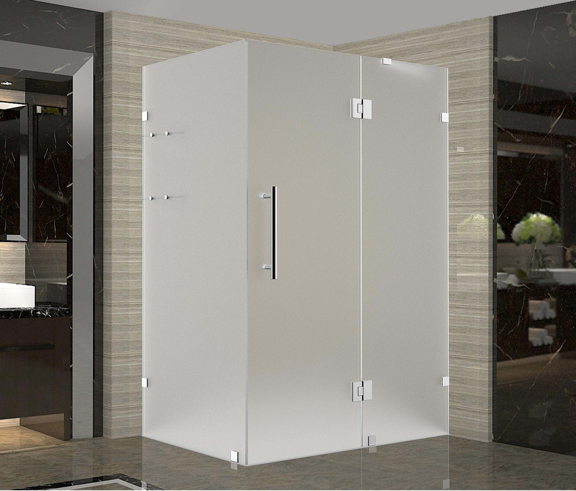 Aston Global SEN992F-SS-3936-10 Stainless Steel Completely Frameless Frosted Shower Enclosure