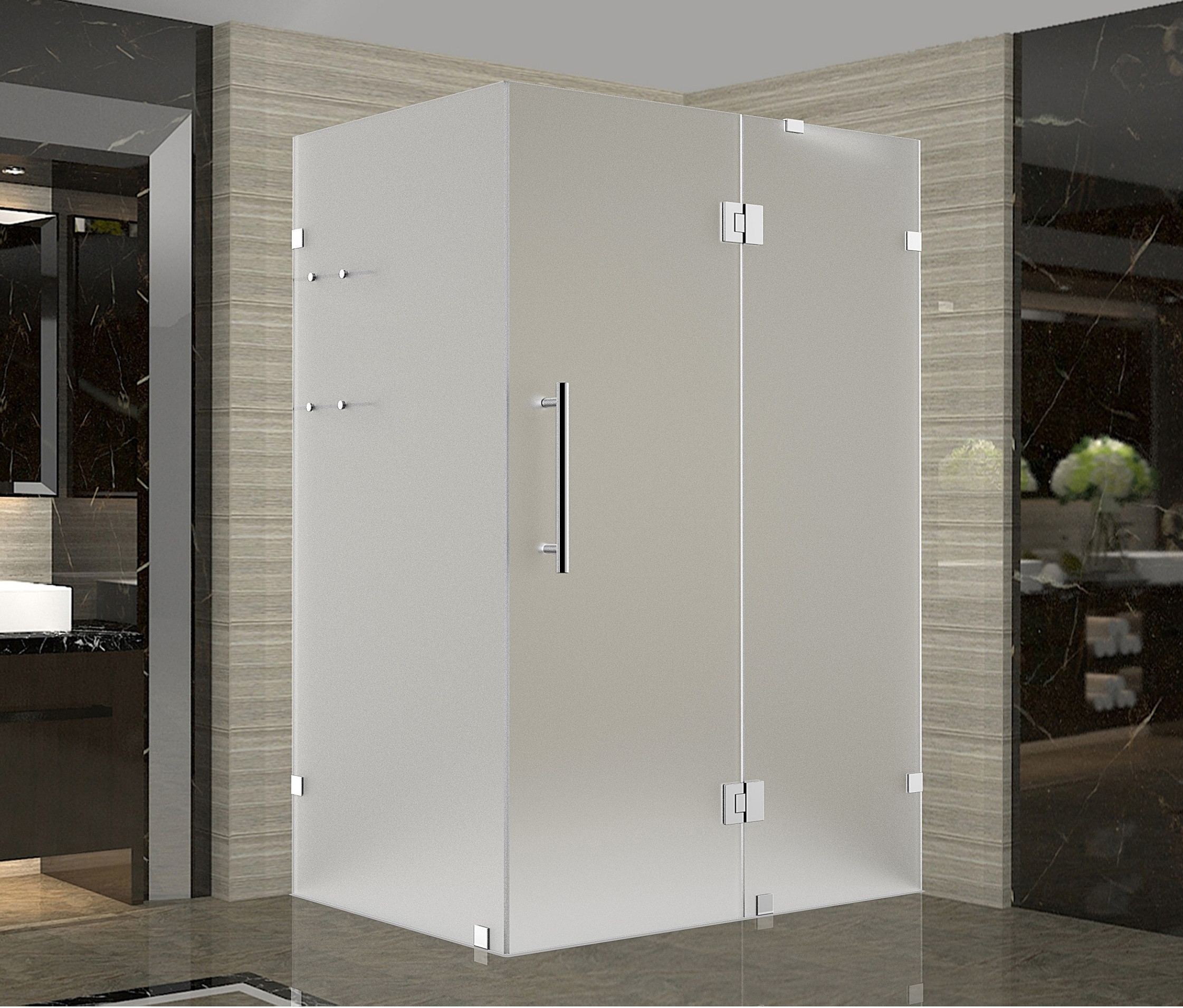 Aston Global SEN992F-SS-4232-10 Completely Frameless Frosted Shower Enclosure In Stainless Steel