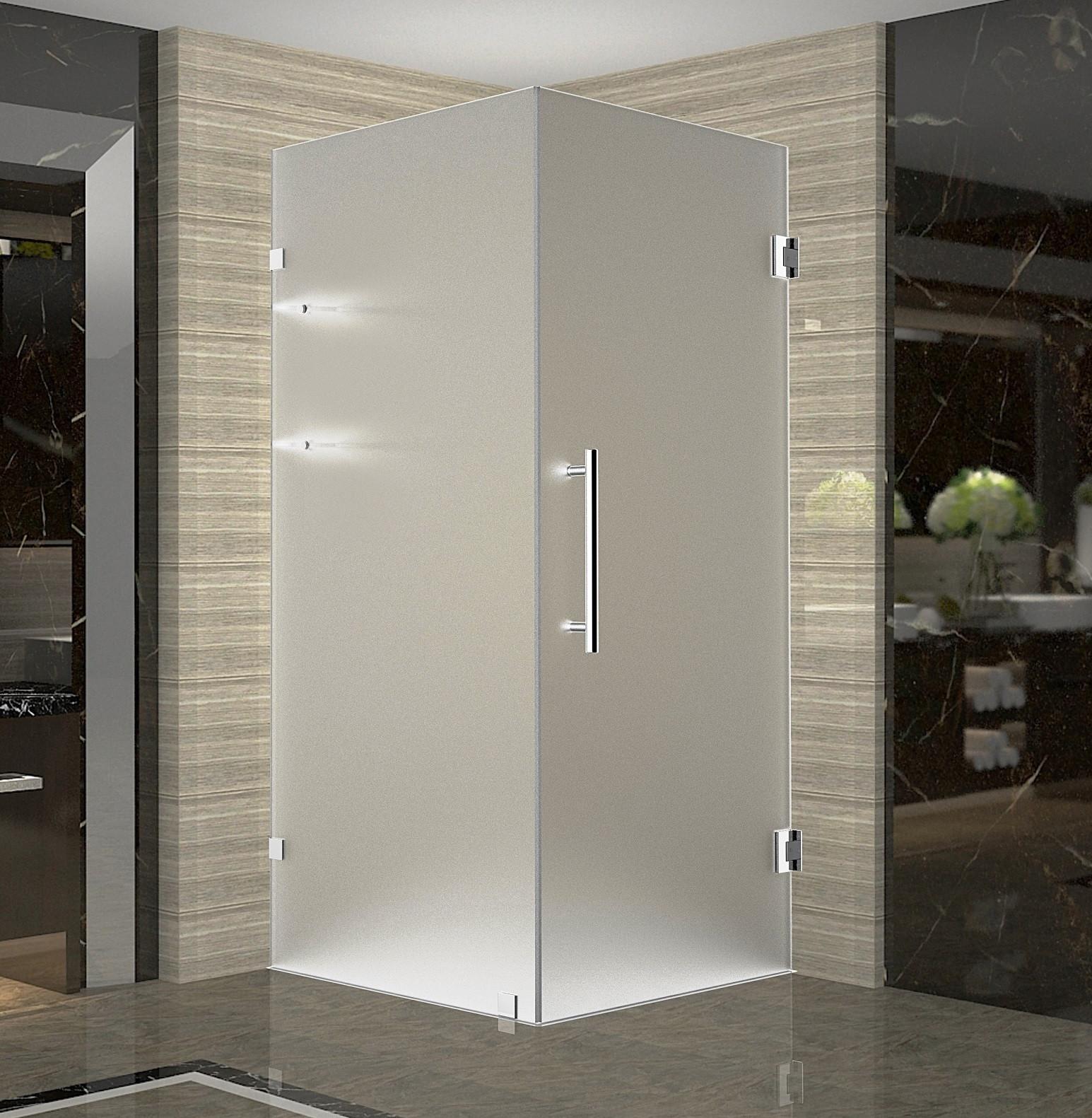 Aston Global SEN993F-CH-30-10 Chrome Completely Frameless Square Shower Enclosure with Shelves